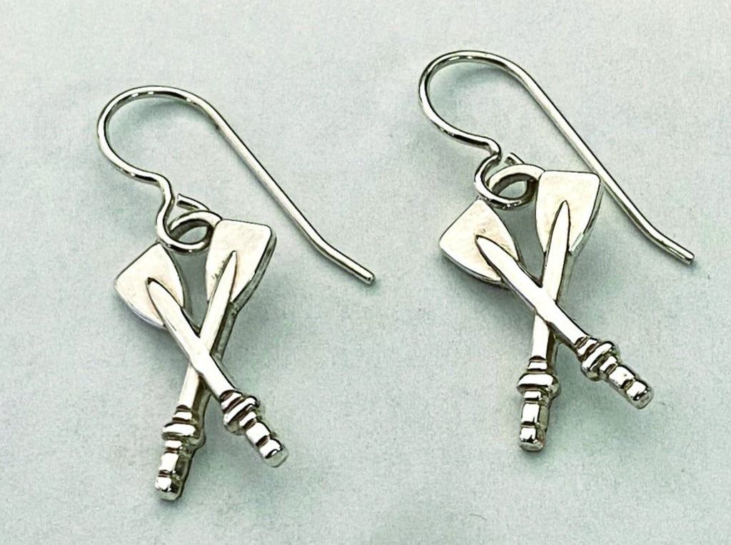 Sterling Silver Medium Crossed Oars Dangle From French Wire Earrings