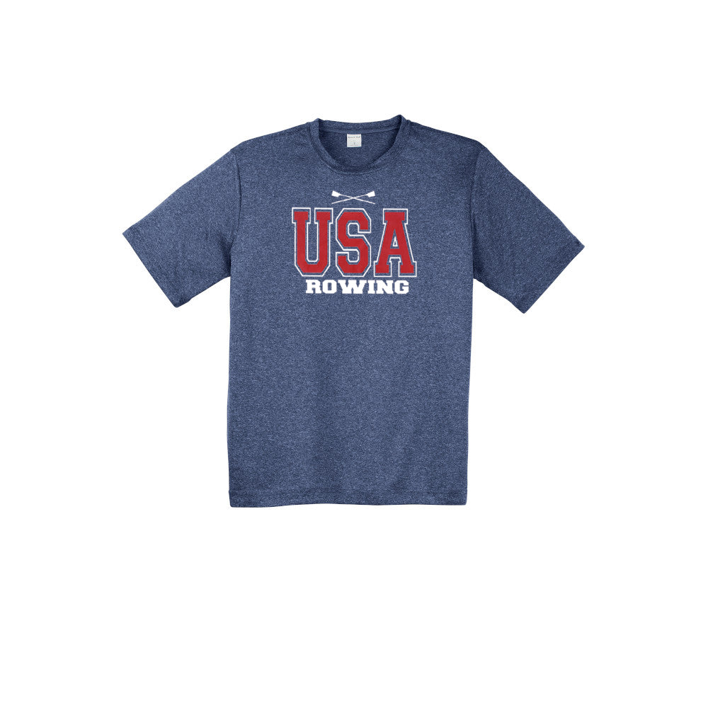 Performance Short Sleeve USA Rowing Heather Navy