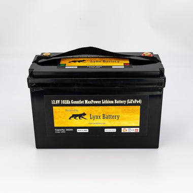 Lynx Battery 12V 100Ah Lithium Iron Phosphate LiFePO4 Deep Cycle Battery with Built-in BMS Perfect for Solar, RV, Golf Cart, Van & Off-Grid Applications with Terminal Leads and Lugs