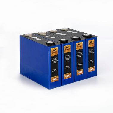 Lynx Battery 12V 100Ah Lithium Iron Phosphate LiFePO4 Prismatic Deep Cell Battery - Set of 4-3.2V Cells with 3 Bus Bars and 8 Lug Nuts - for RV, Solar, Marine & Off-Grid Applications