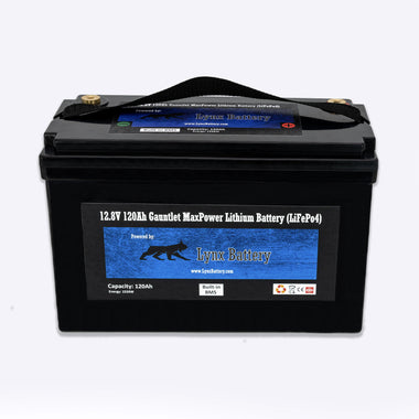 Lynx Battery 12V 120Ah Lithium Iron Phosphate LiFePO4 Deep Cycle Battery Built-in BMS with Cold Cut-Off Switch Perfect for Solar, RV, Marine, Golf Cart, Van & Off-Grid Applications