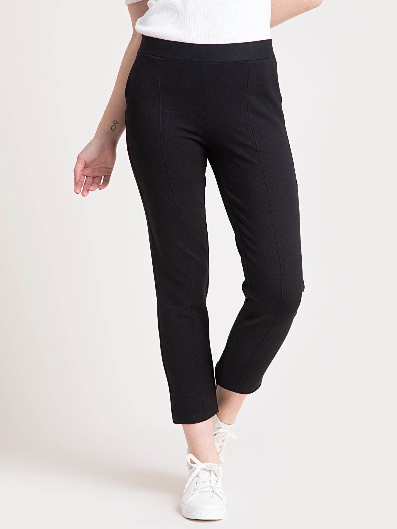 4 Way Stretch Cropped LivIn Pants - Black