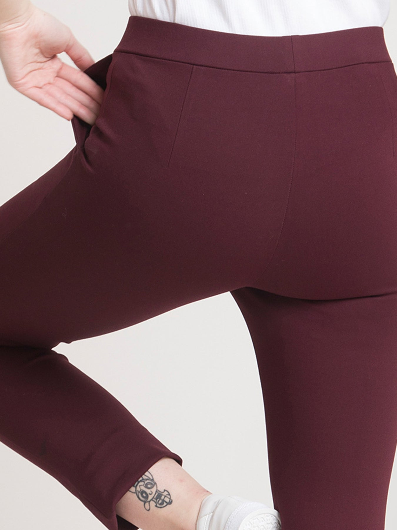 4 Way Stretch Cropped LivIn Pants - Maroon