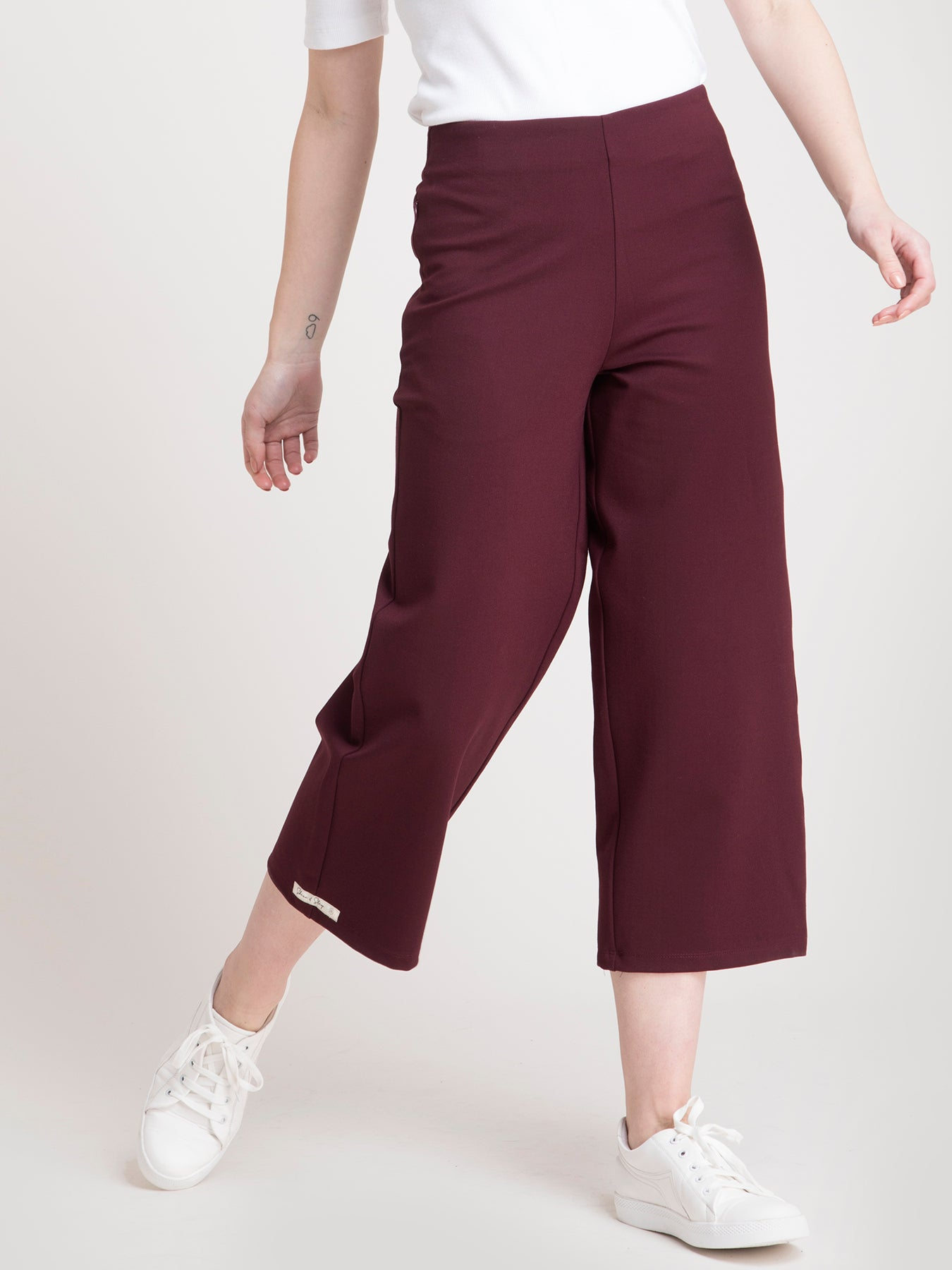 4 Way Stretch LivIn Culottes - Maroon