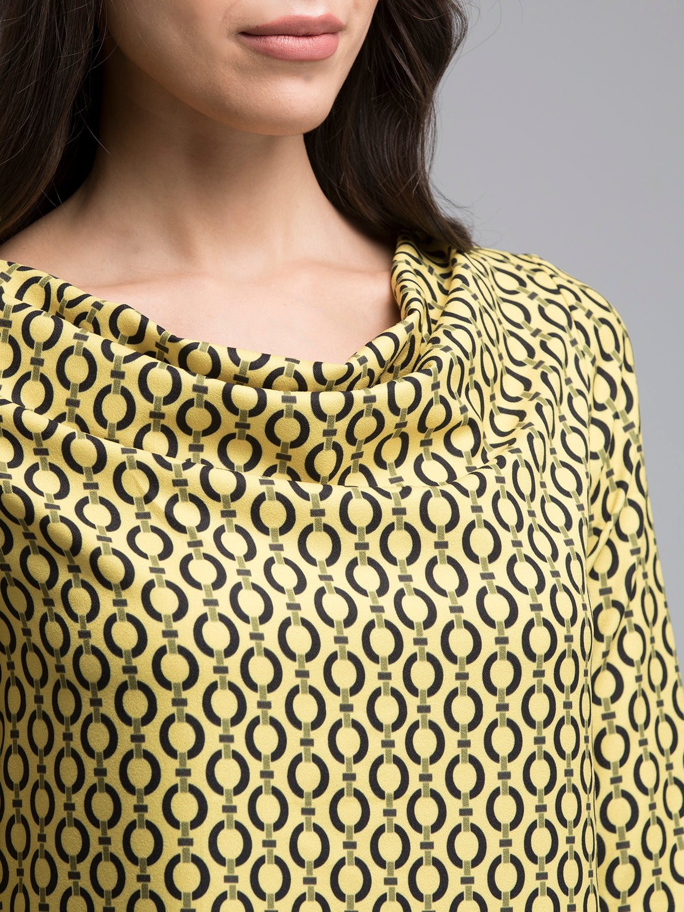 Cowl Neck Geometric Print Top - Yellow and Black