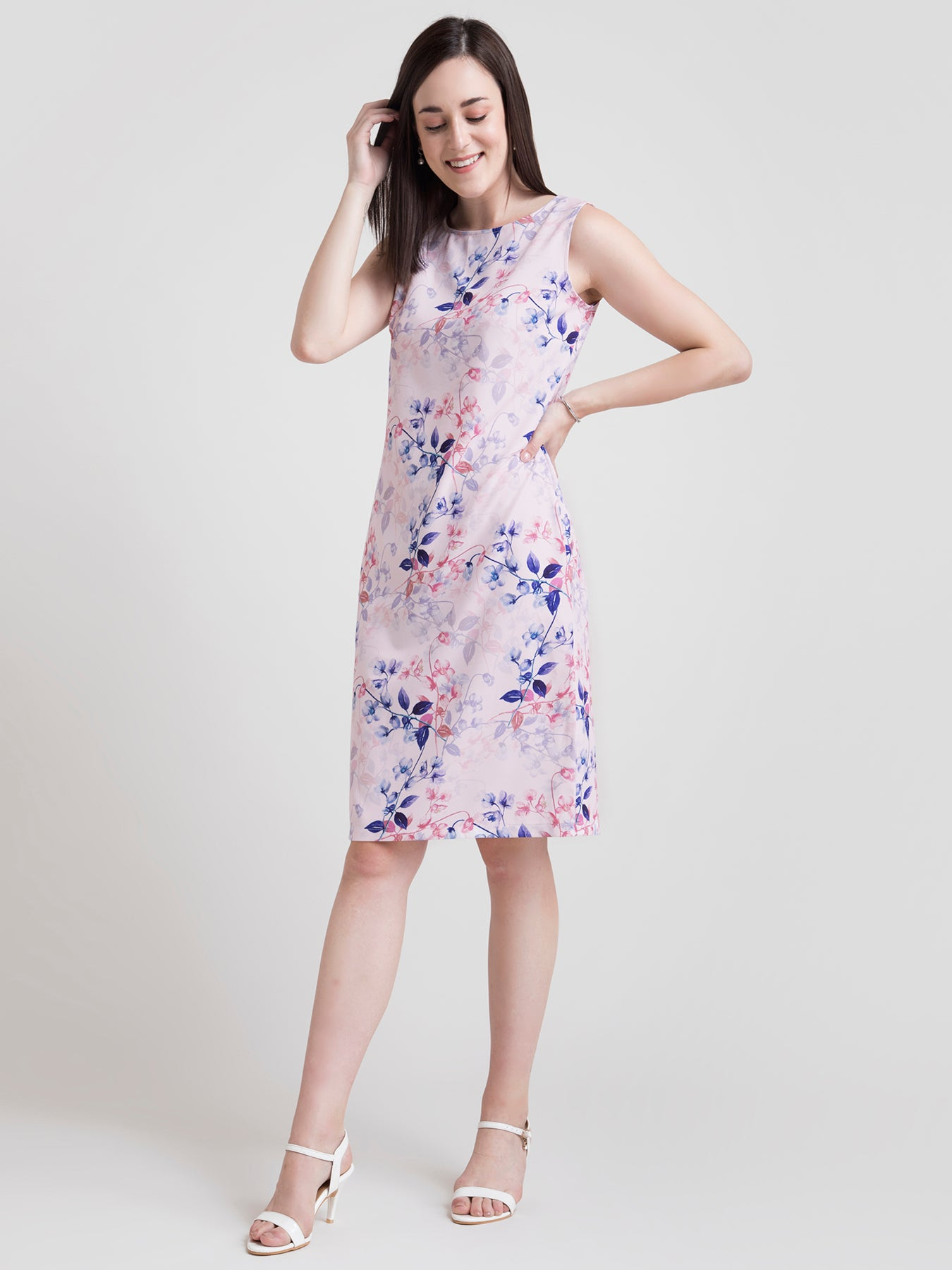 Boat Neck Ditsy Floral Sheath Dress - Pink and Blue