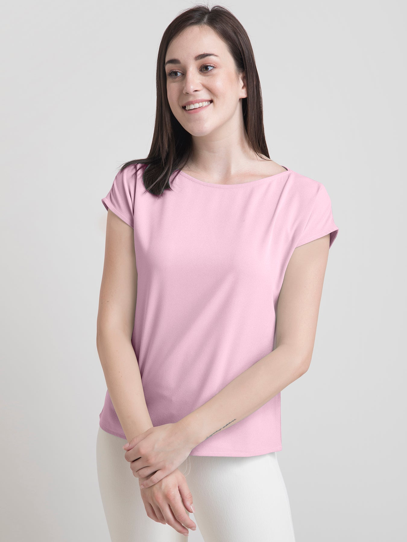 Boat Neck Drop Shoulder Top - Baby Pink
