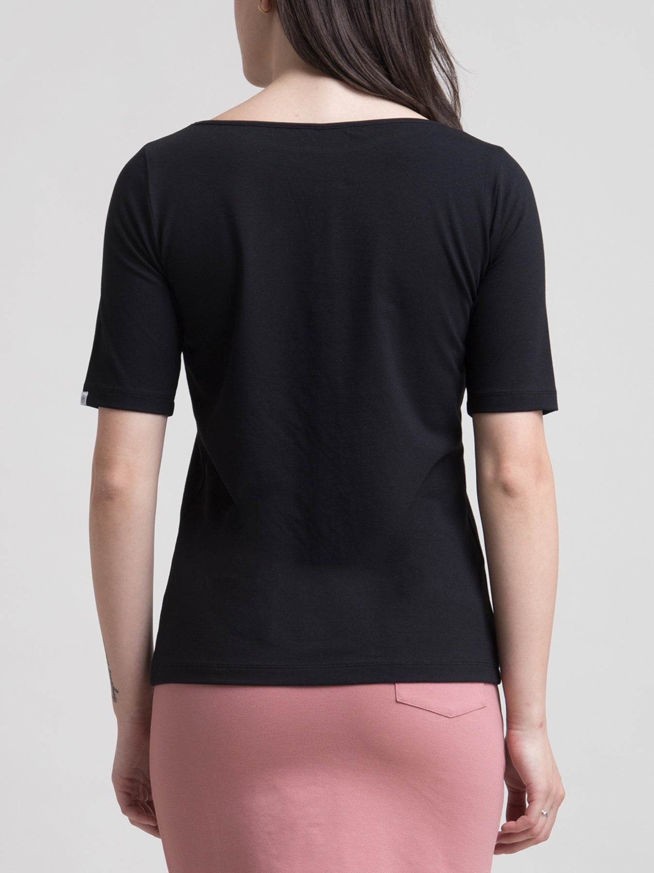 Cotton Boat Neck Knitted T Shirt - Black
