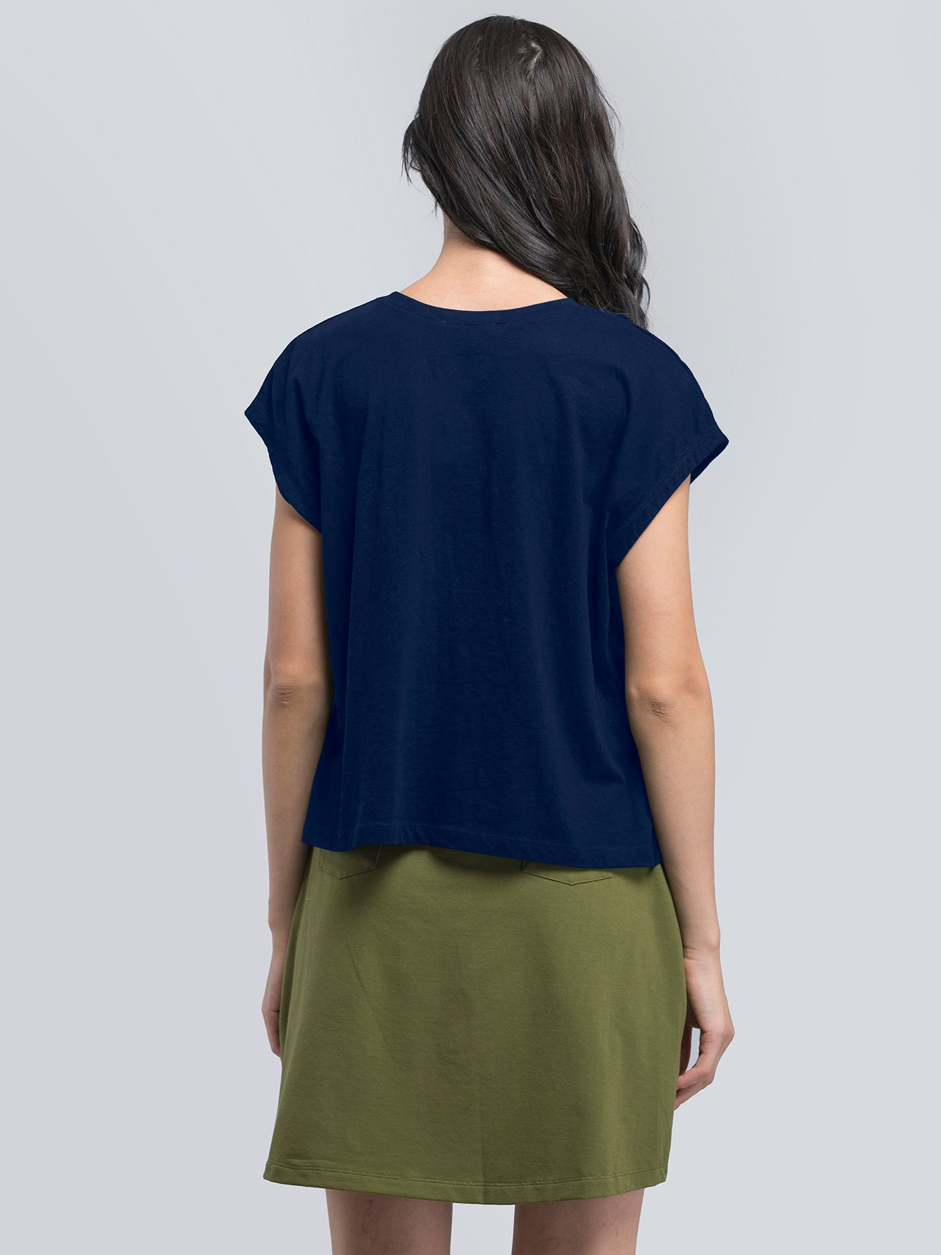 Cotton Drop Shoulder Knitted Tee - Blue