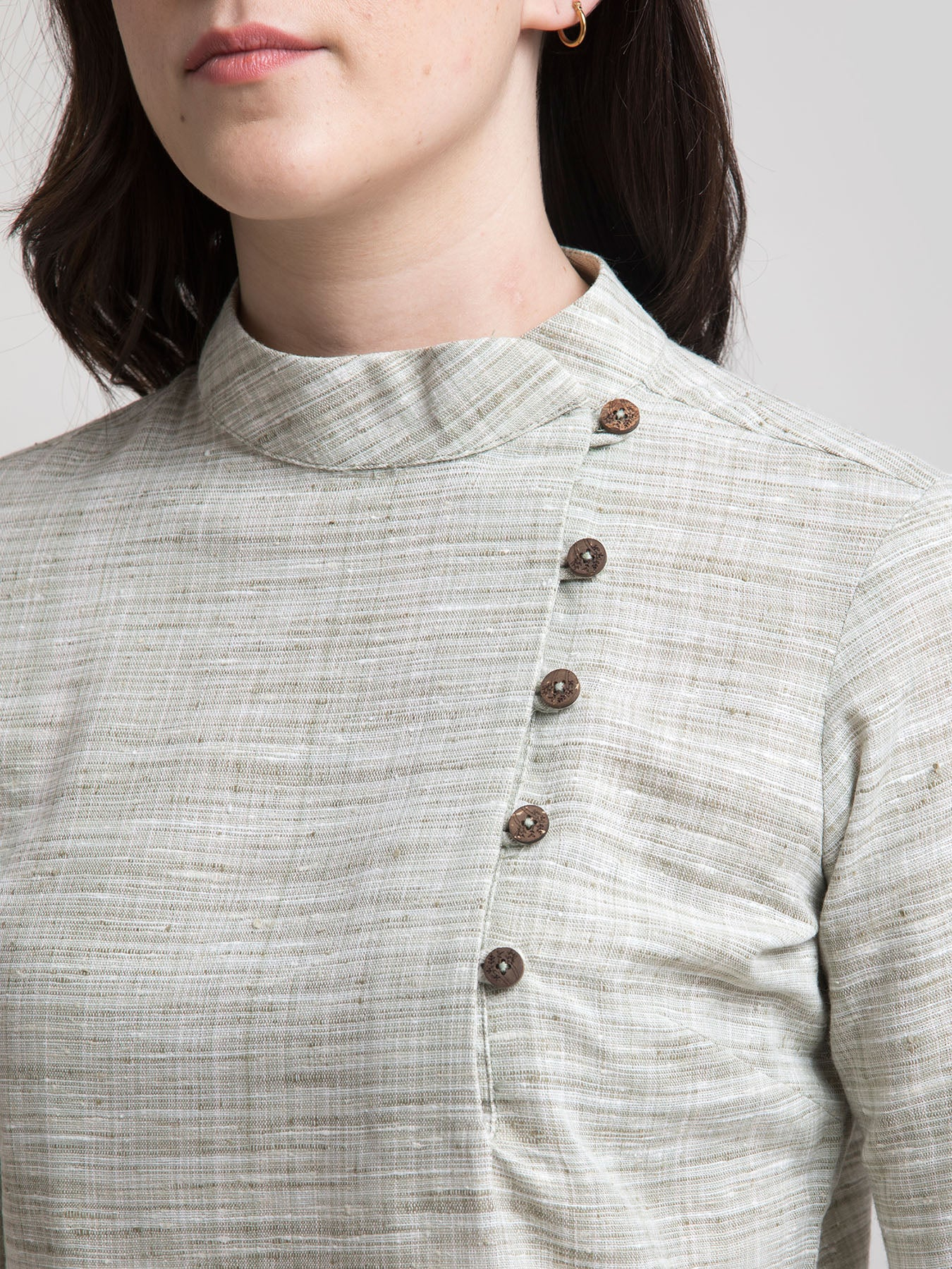 Cotton Mandarin Collar Button Detail Top - Sap Green
