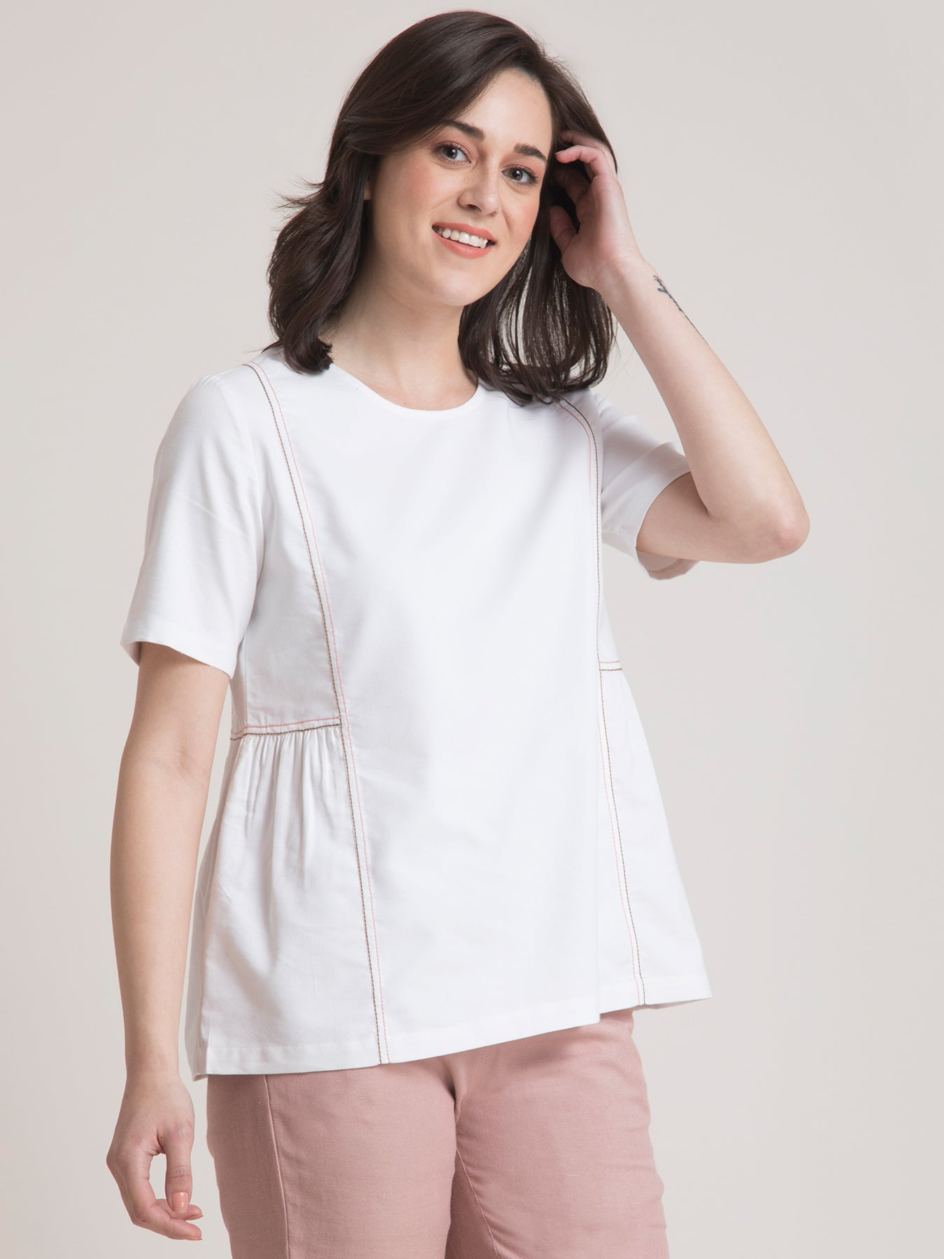 Cotton Round Neck Gather Top - White and Pink