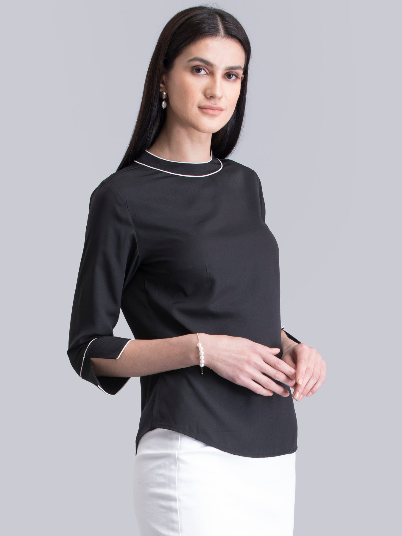 Crew Neck Colour Block Top - Black and White