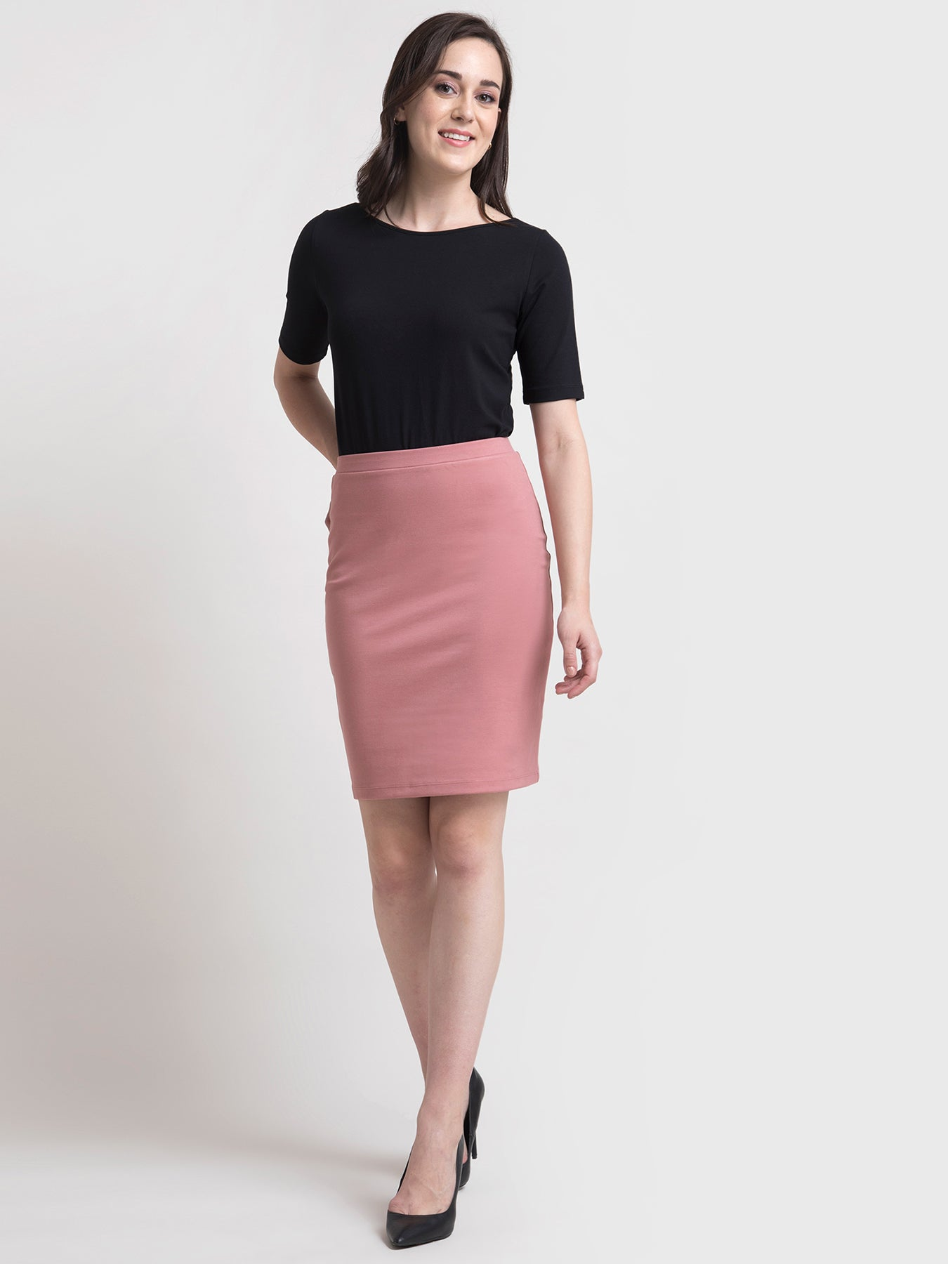 Elasticated Pencil LivIn Skirt - Pink
