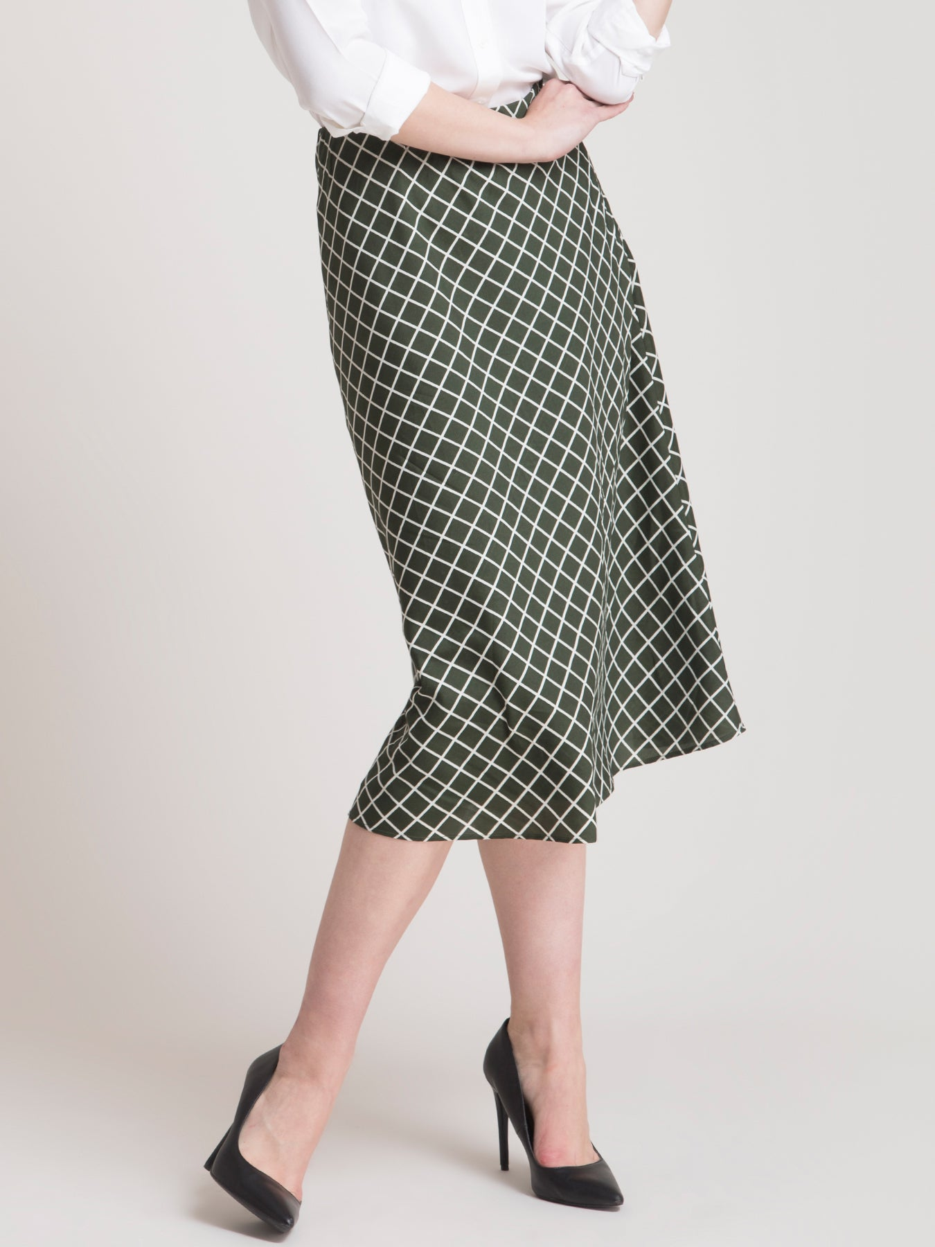 Elasticated Check A Line Skirt - Olive