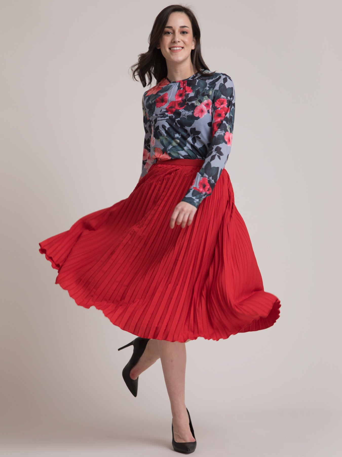 Floral Top and Pleated Skirt Co-ord - Grey and Red