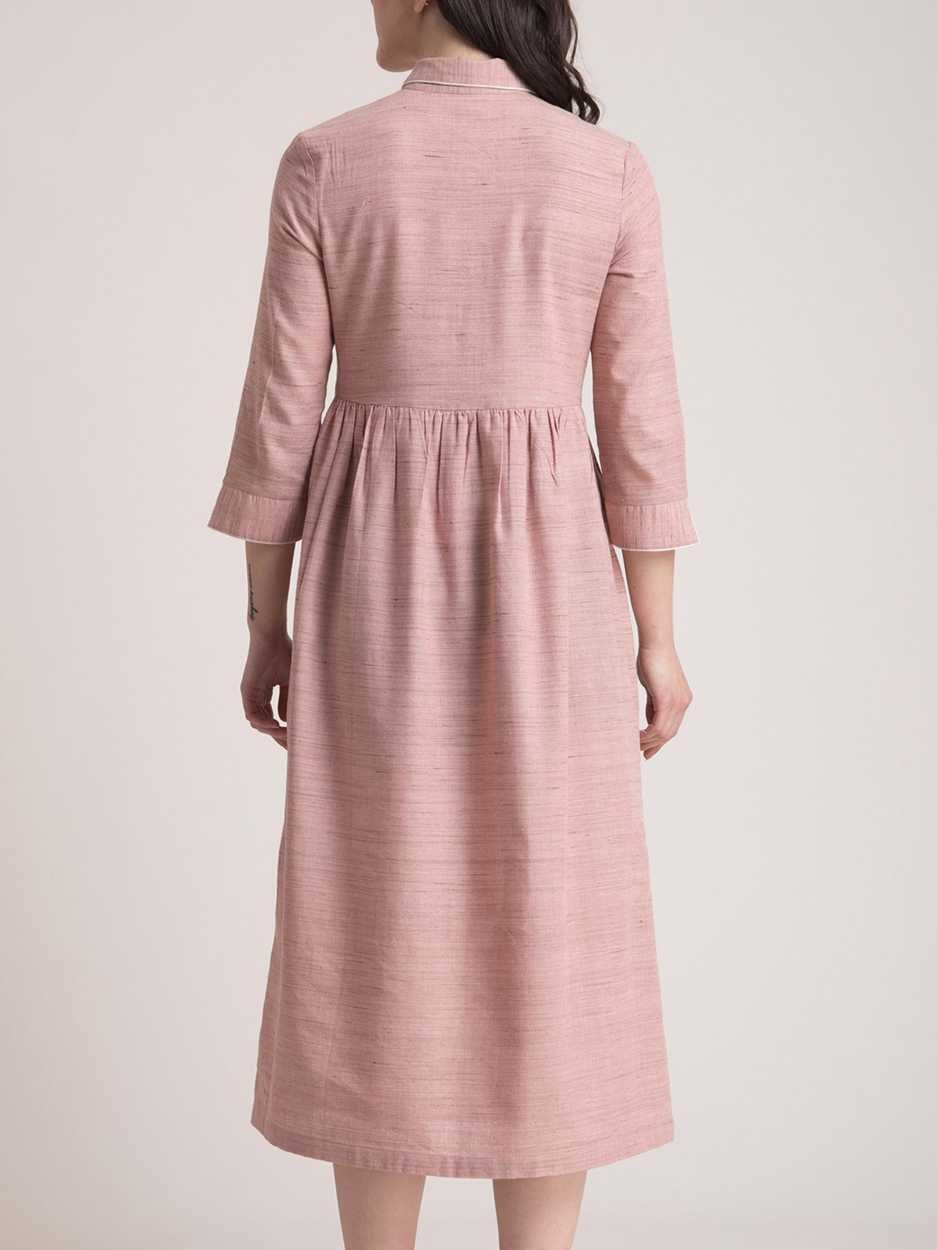 Khadi Collared Fit and Flare Dress - Dusty Pink