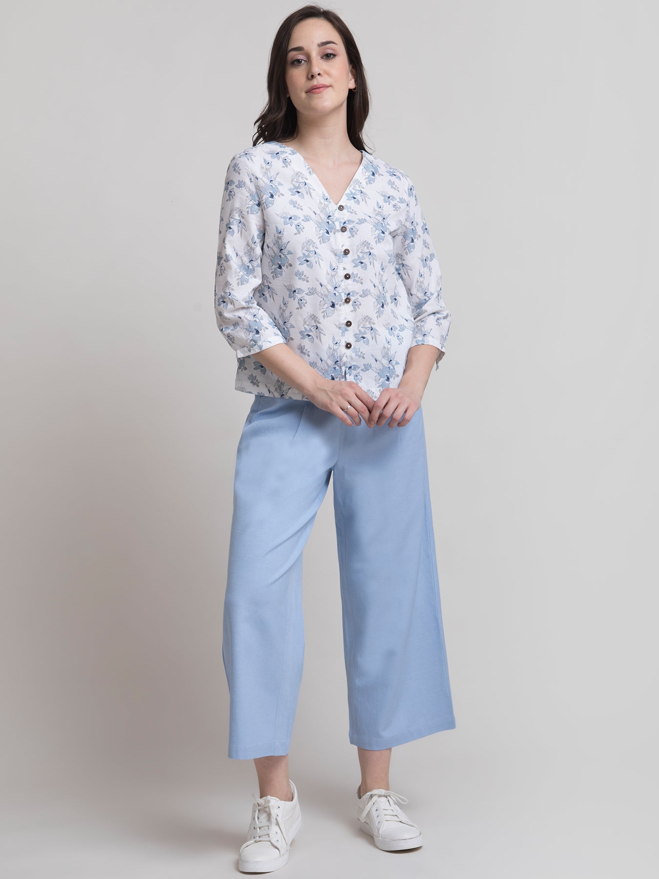 Linen Floral Top and Pleated Elasticated Culottes Co-ord - White and Blue