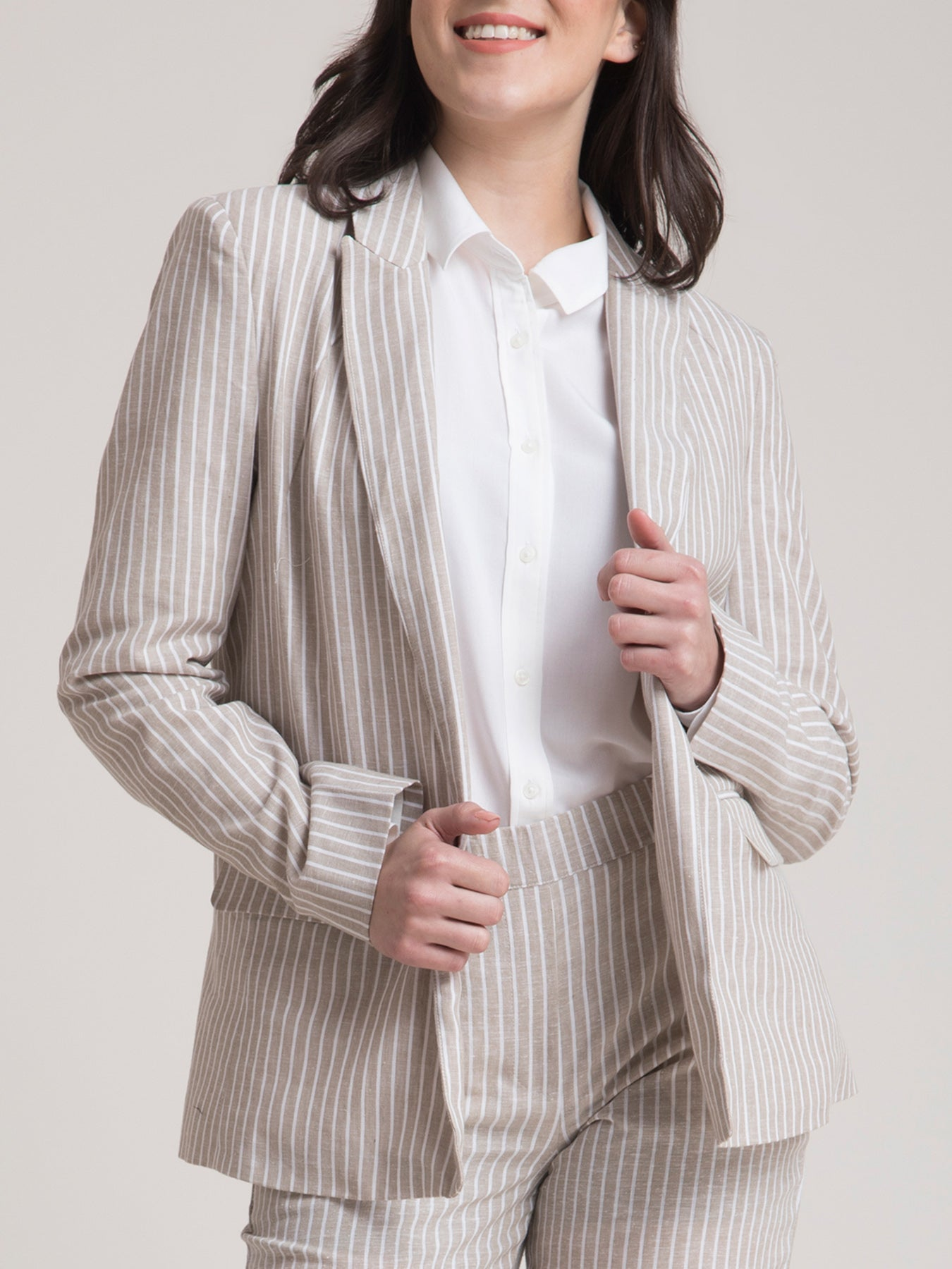 Linen Striped Jacket and Pants Co-ord - Beige