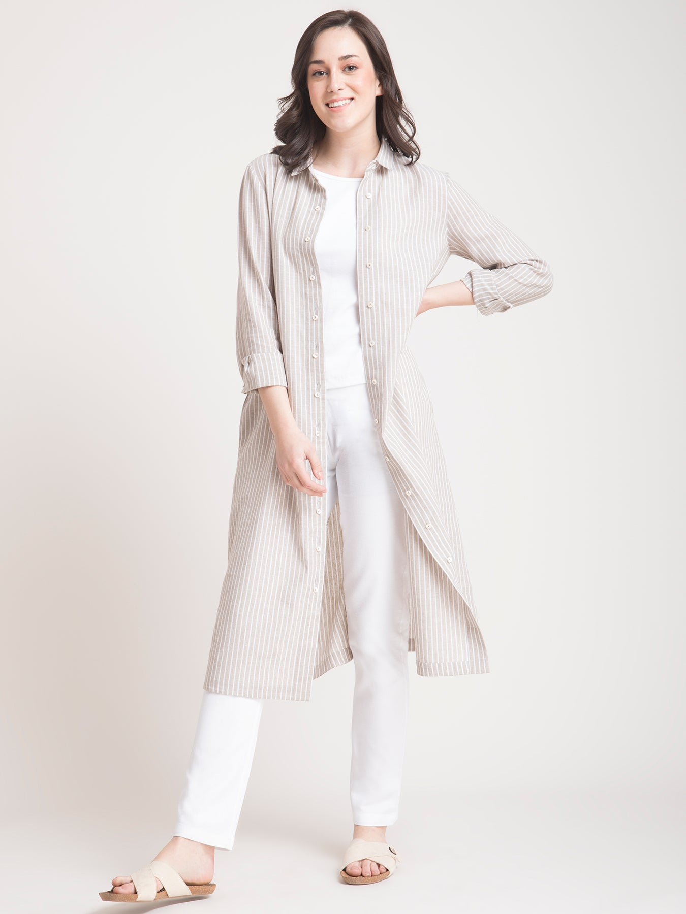 Linen Striped Shirt Dress and Pants Co-ord - Beige and White