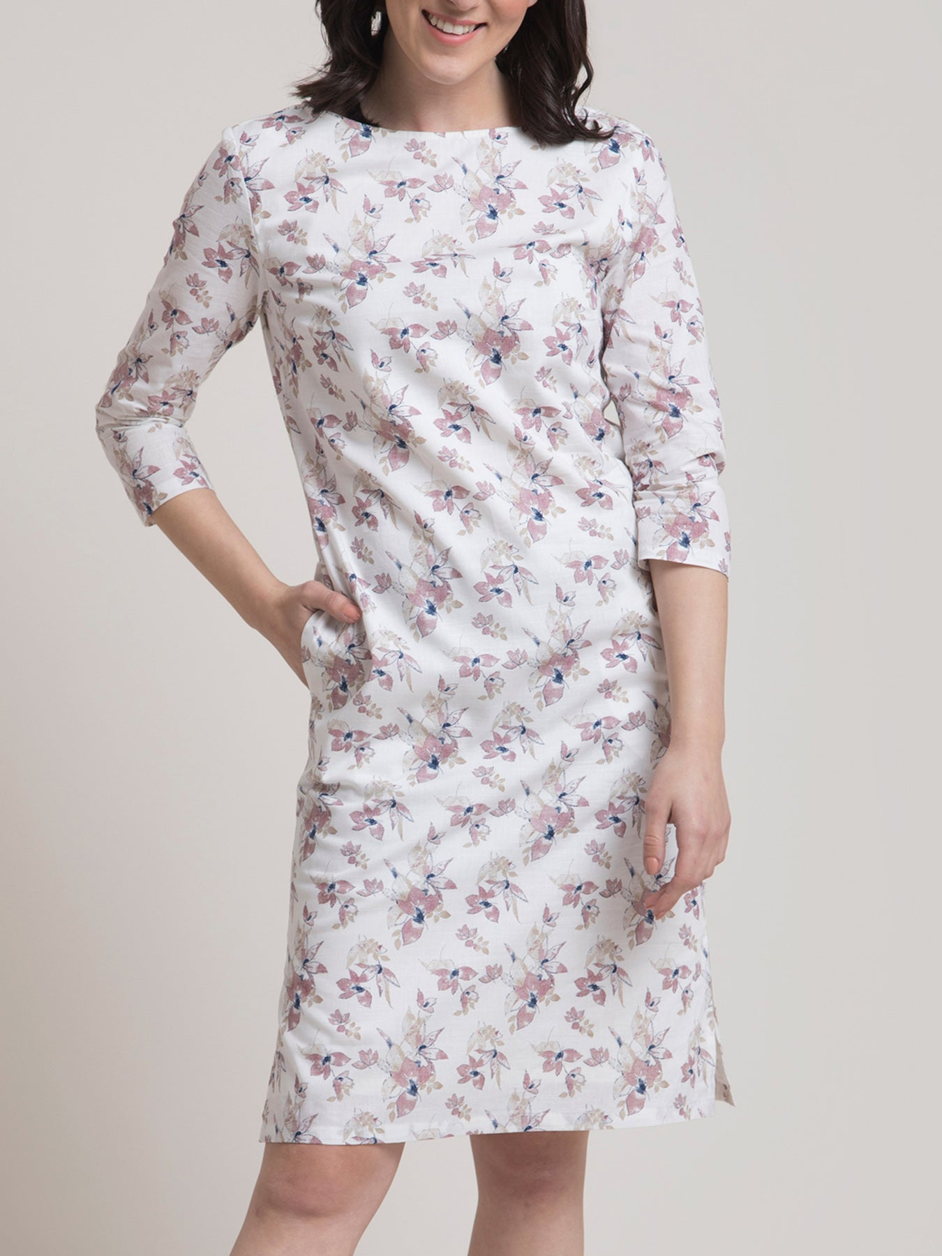 Linen Boat Neck Floral Dress - Pink and White