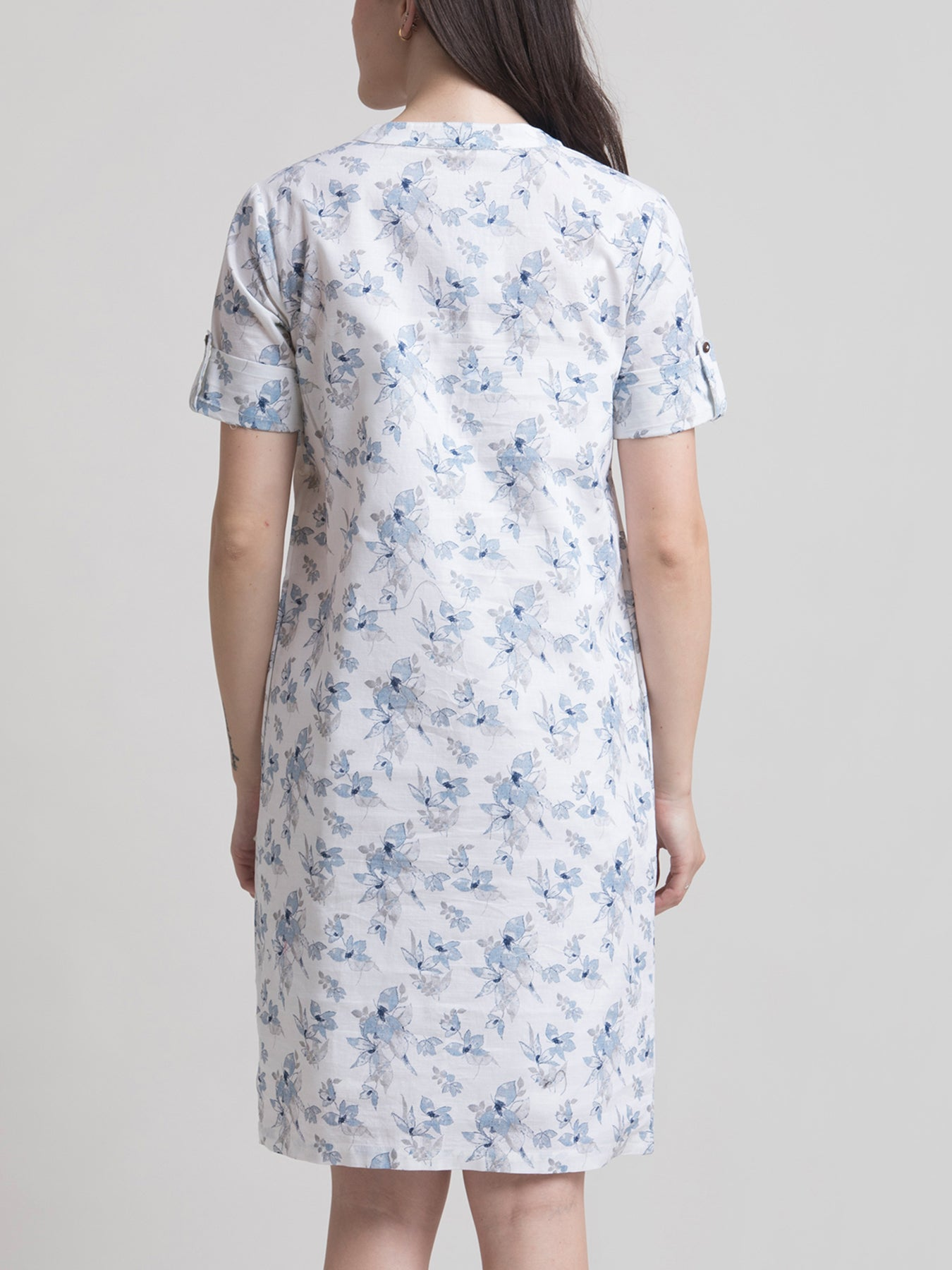 Linen Mandarin Collar Floral A Line Dress - Blue and White