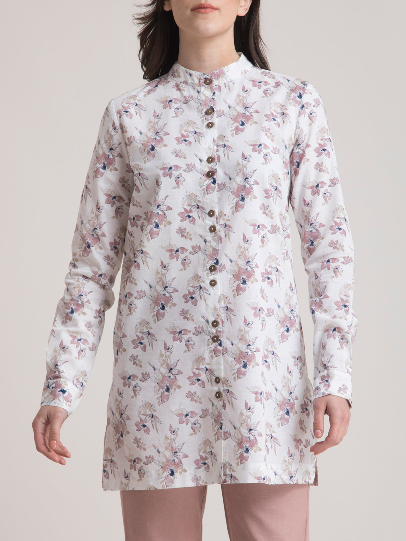 Linen Mandarin Collar Floral Tunic - White and Pink