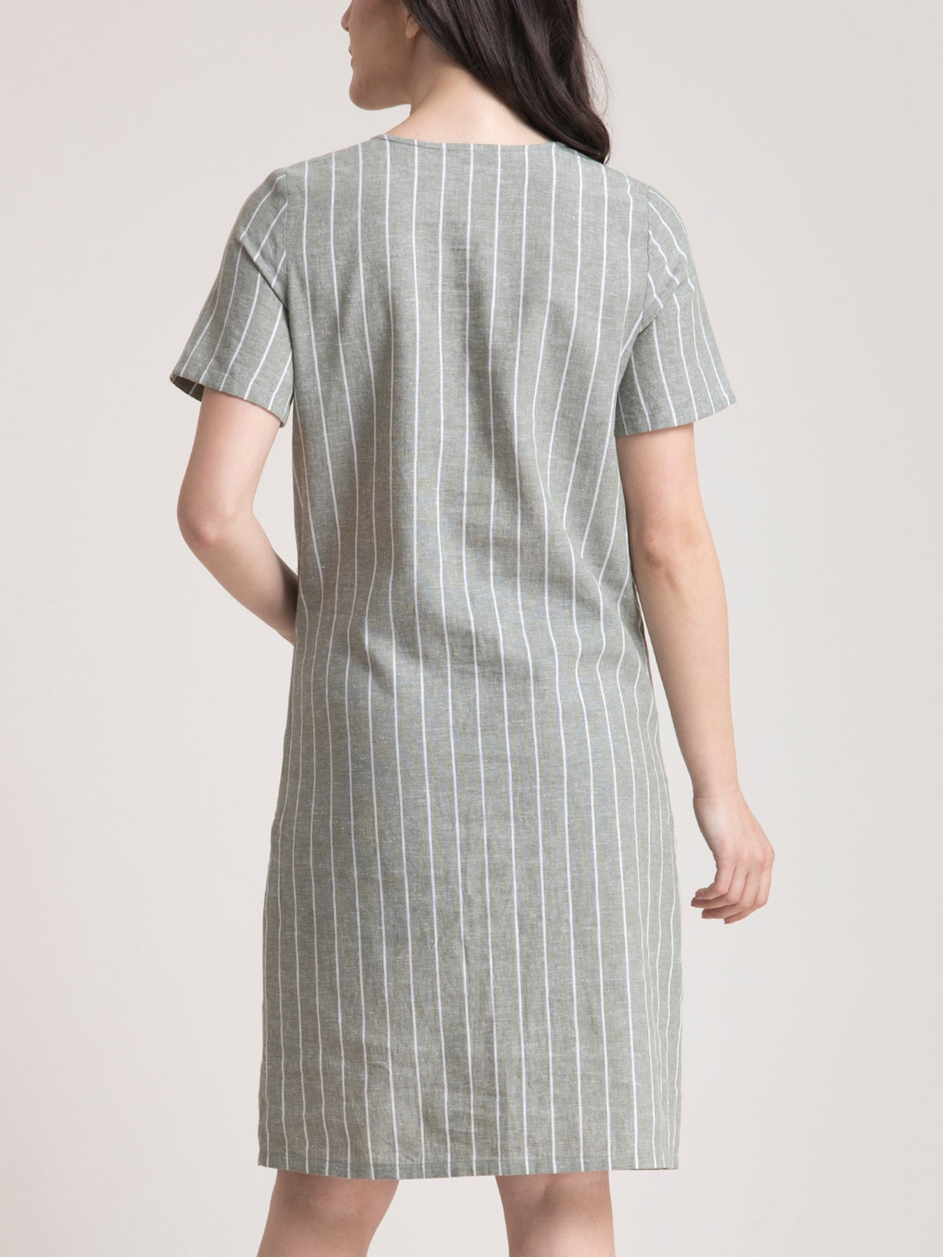 Linen Square Neck Striped Shirt Dress - Green and White