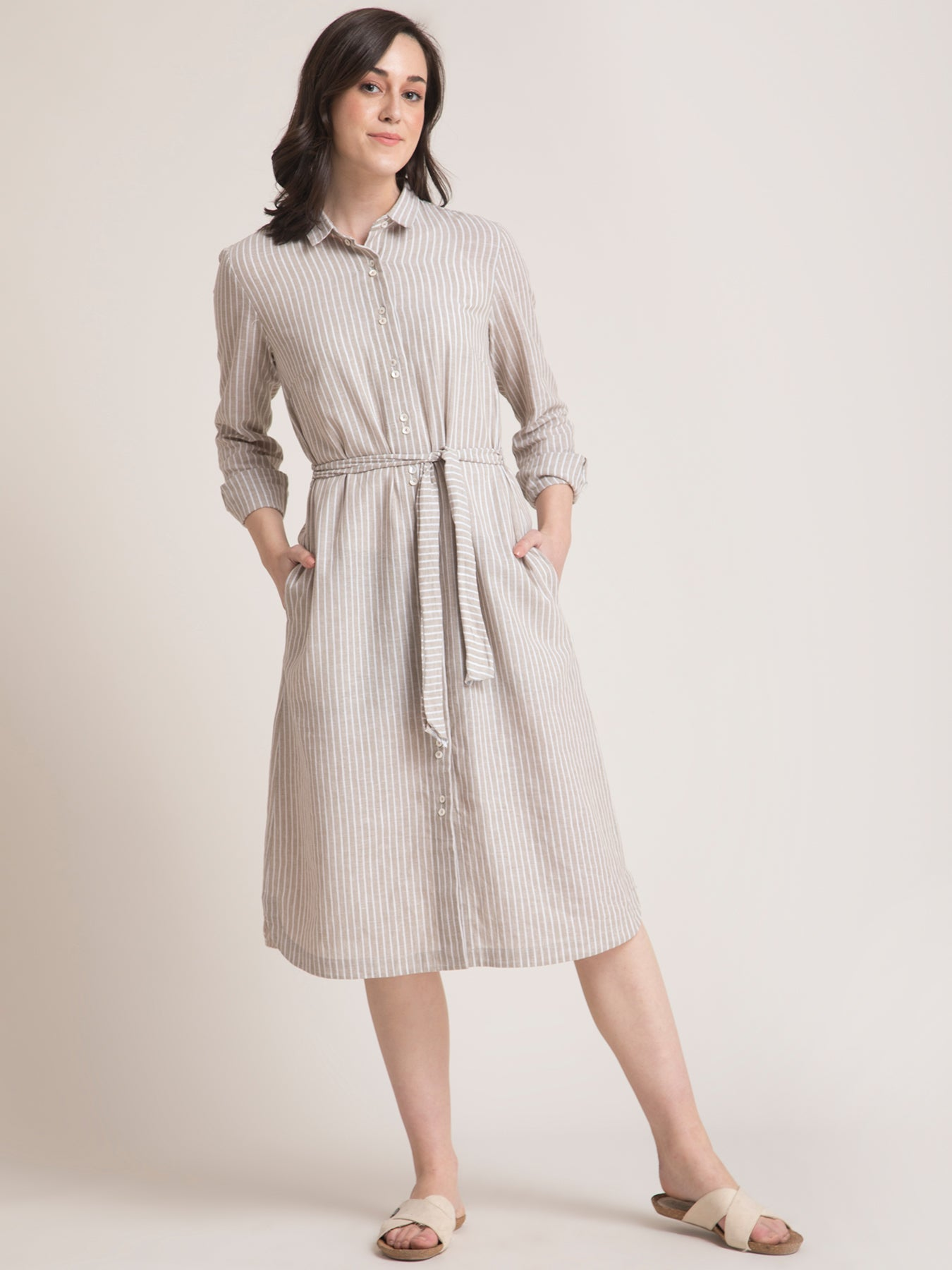 Linen Striped Shirt Dress - Beige and White