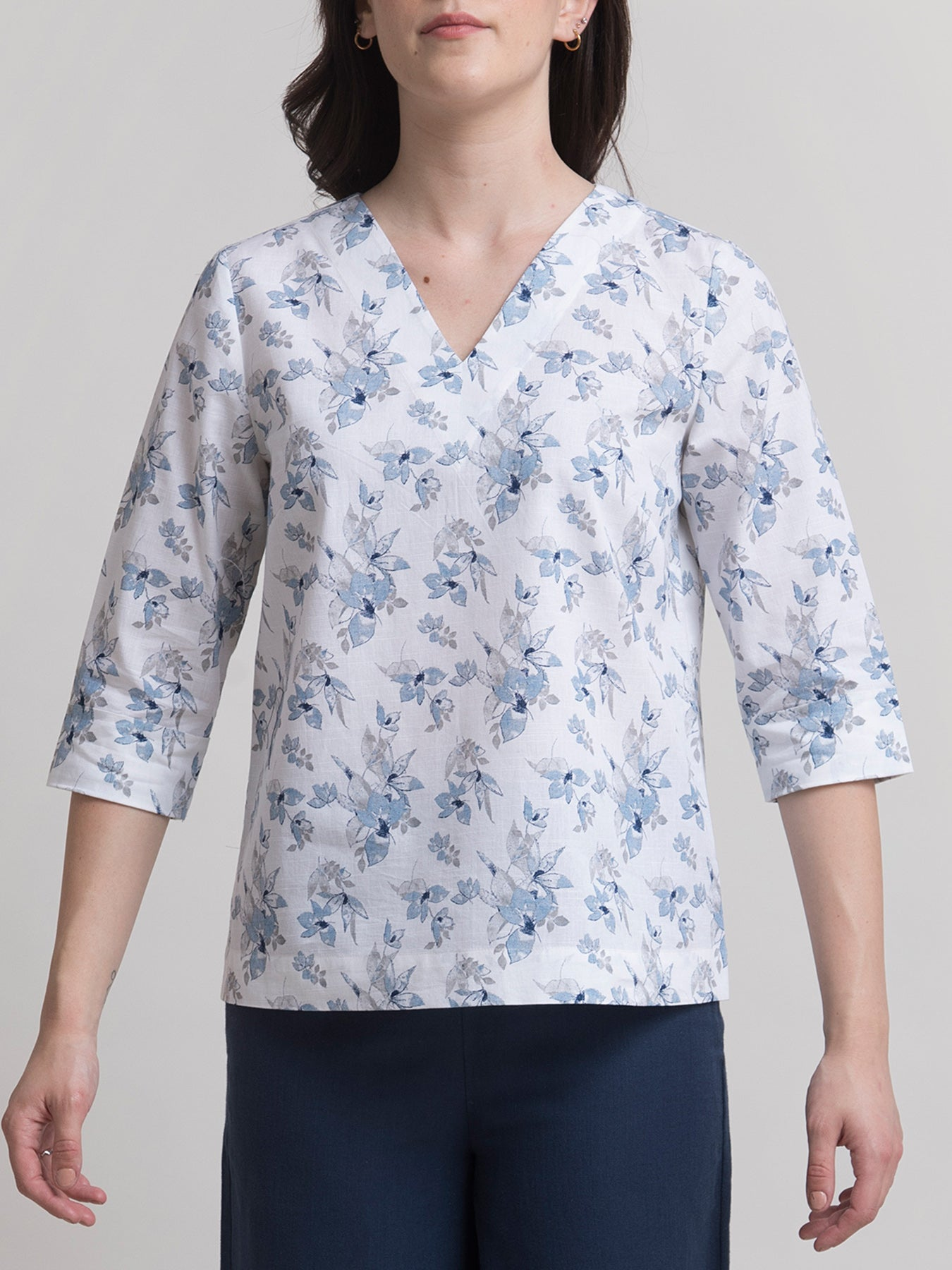 Linen V Neck Floral Top - White and Blue