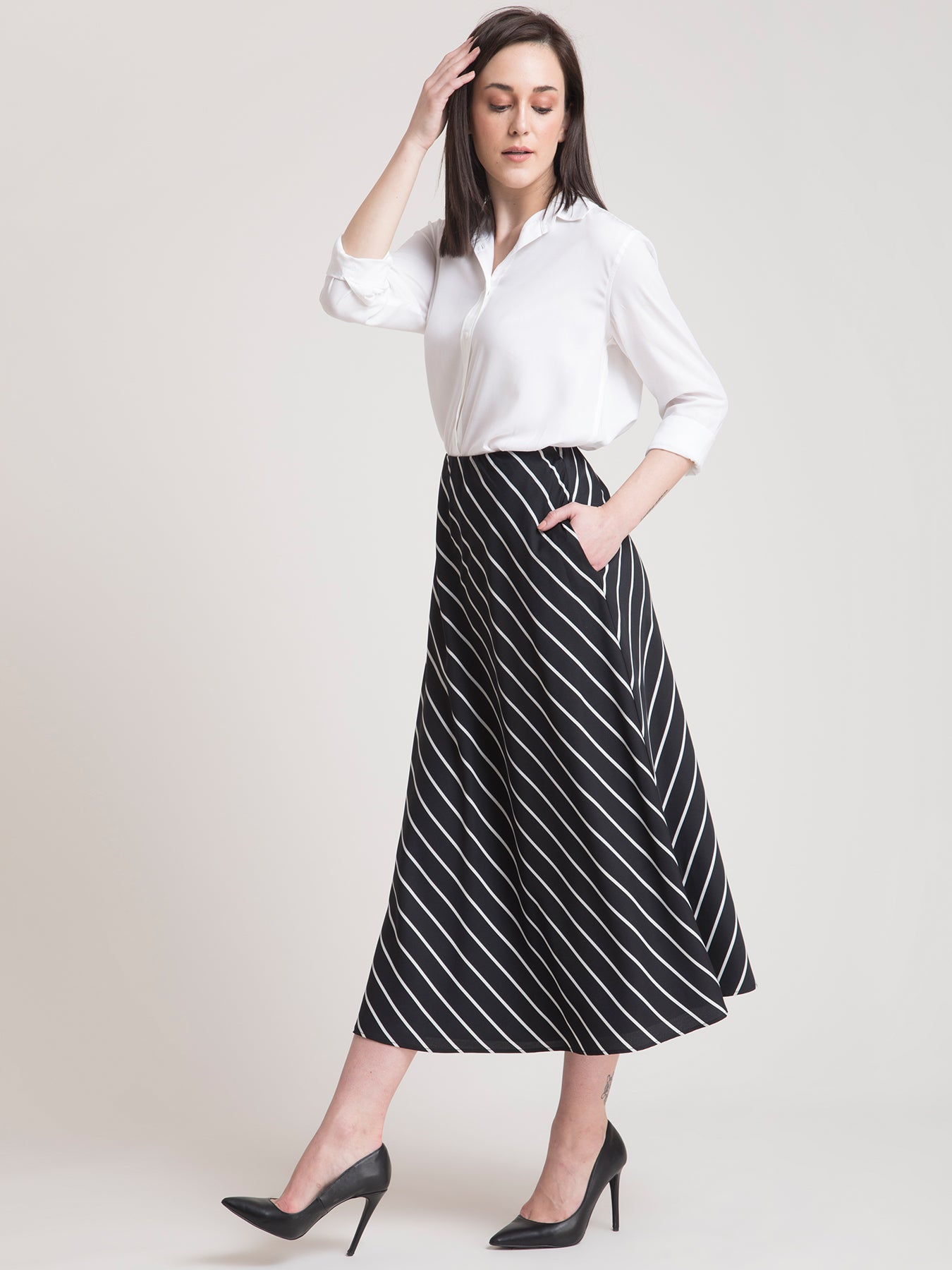 Rayon Collared Shirt and Elasticated Striped Skirt Co-ord - White and Black