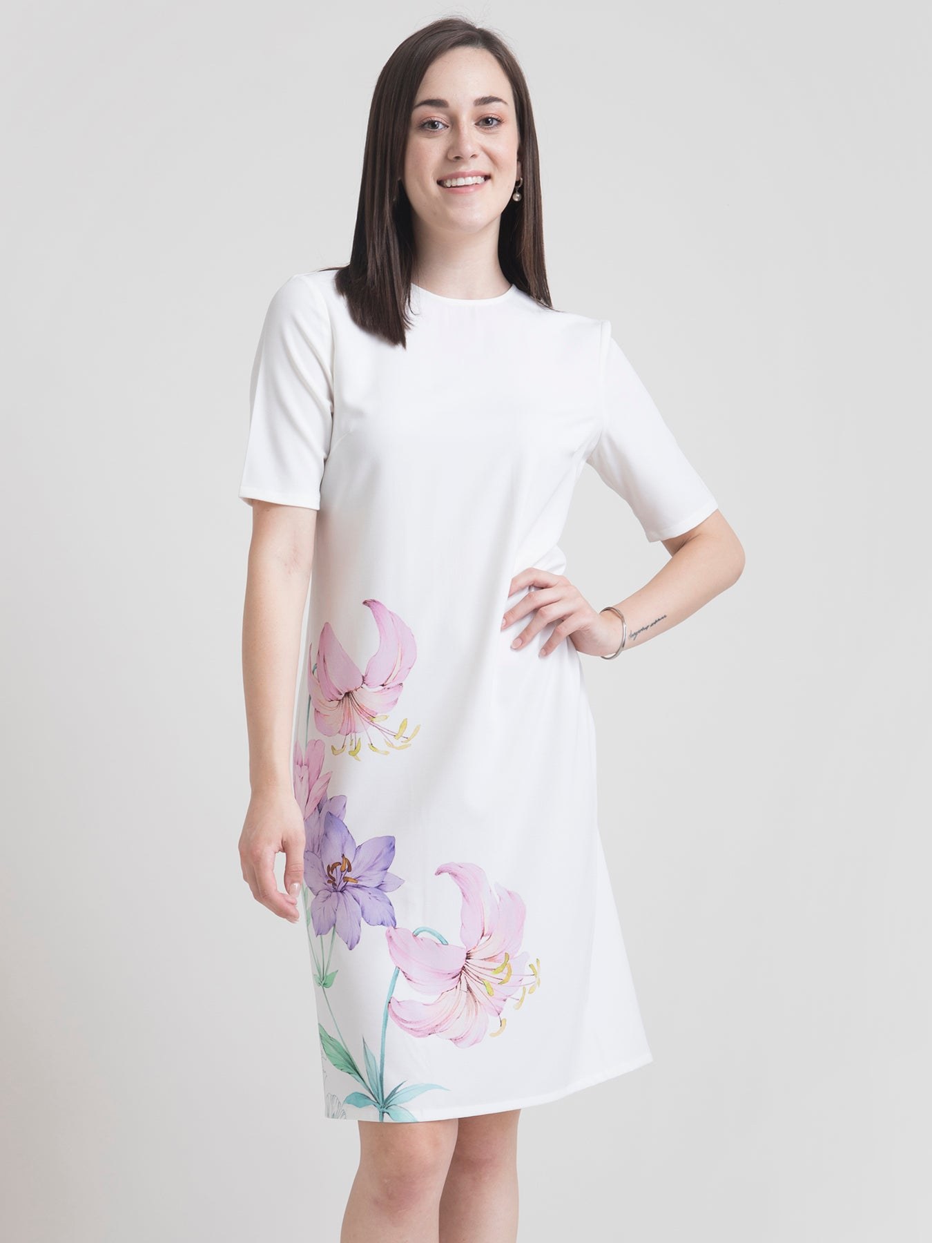Round Neck Watercolour Floral Shift Dress - White