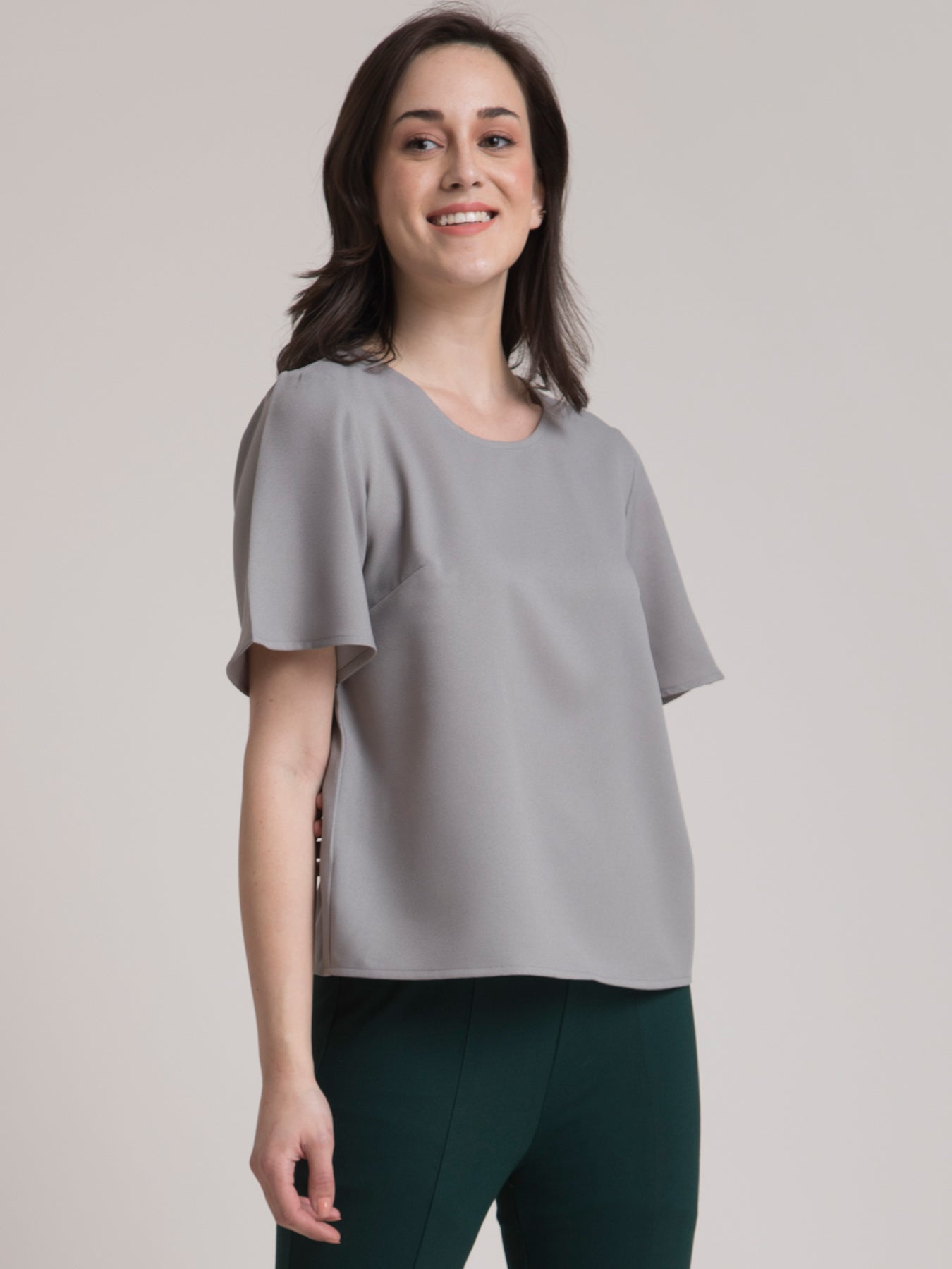 Round Neck Bell Sleeve Top - Grey