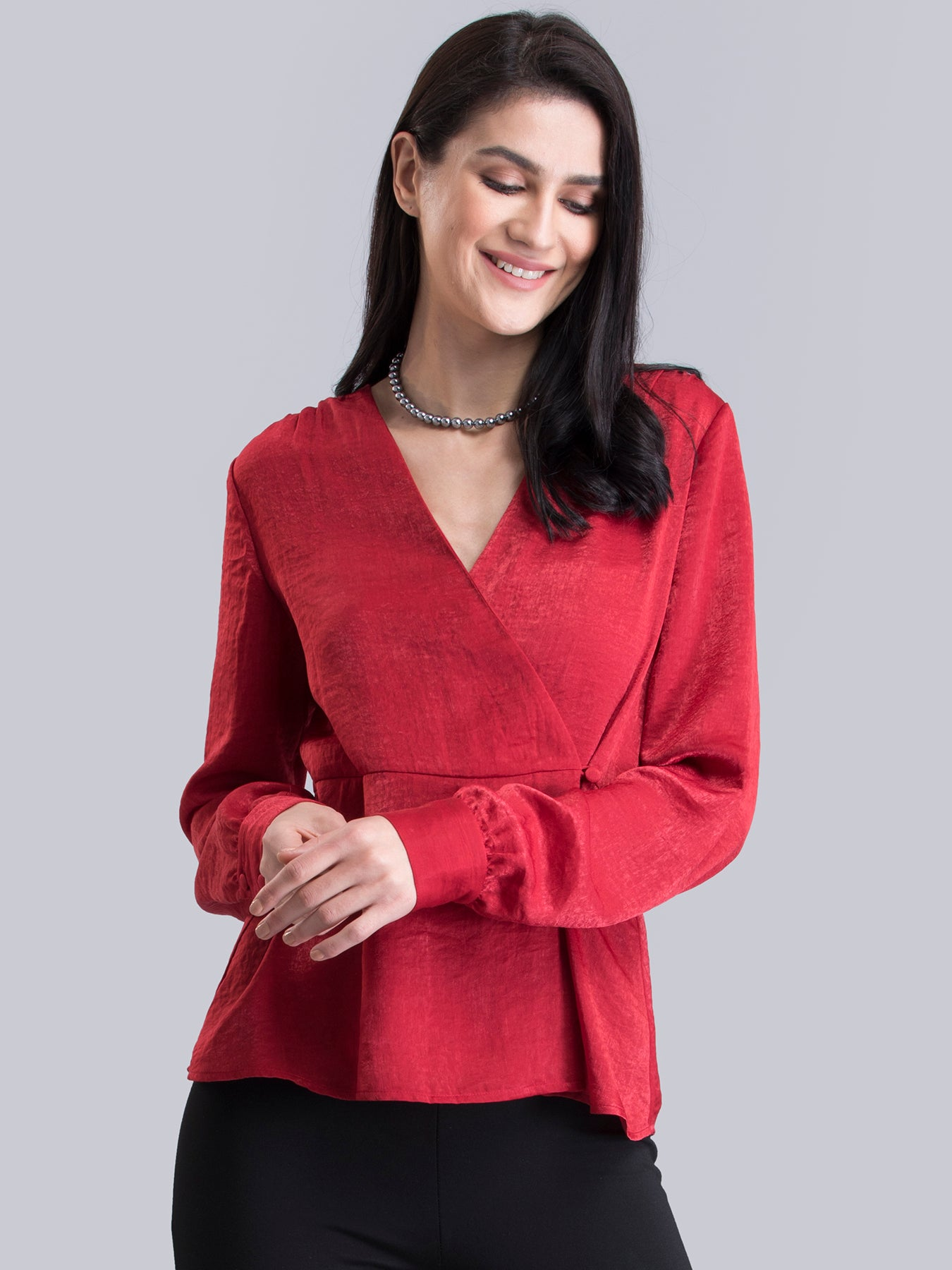 Satin Wrap Top - Red