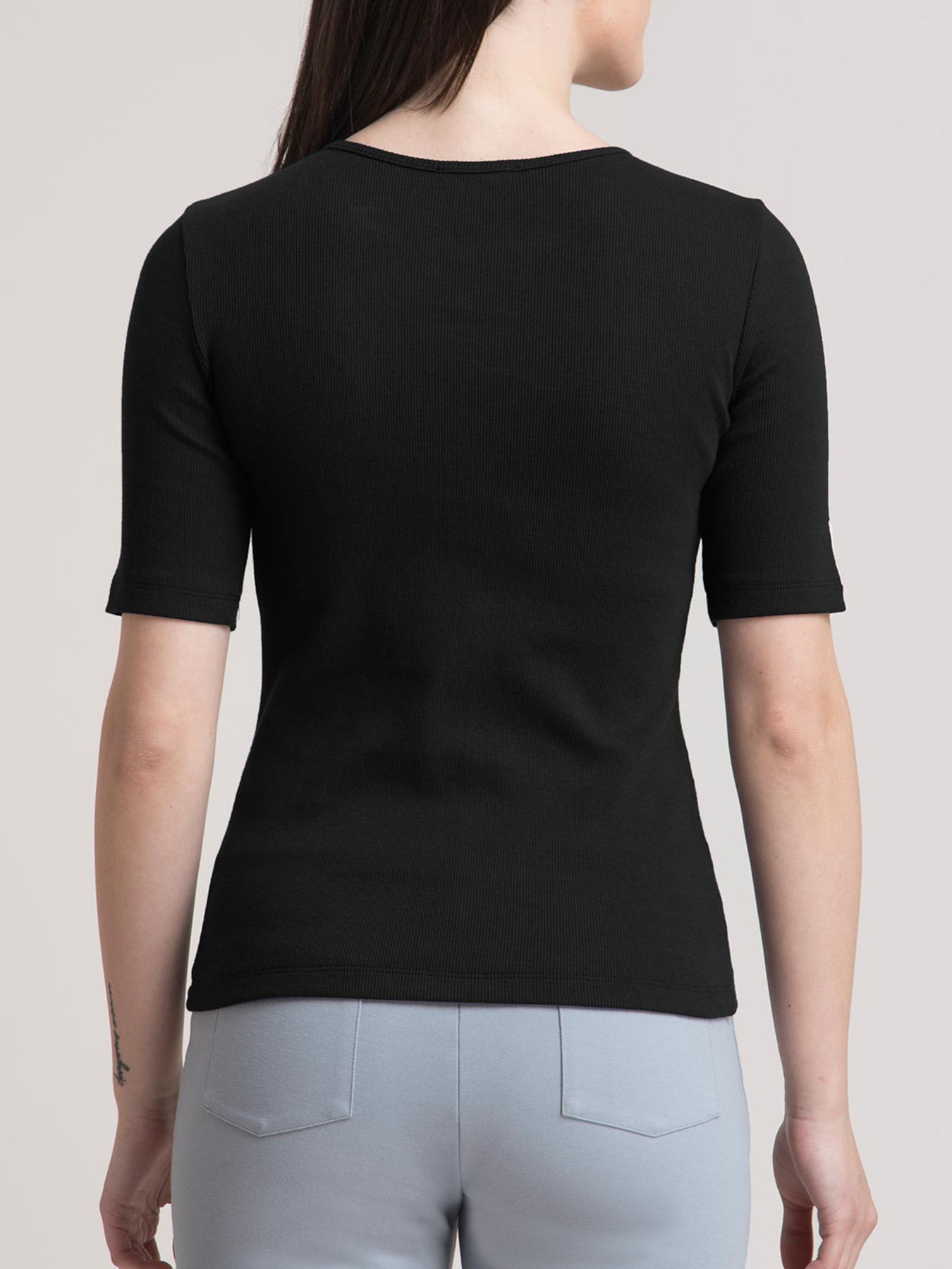 Stretchable Round Neck LivIn T Shirt - Black