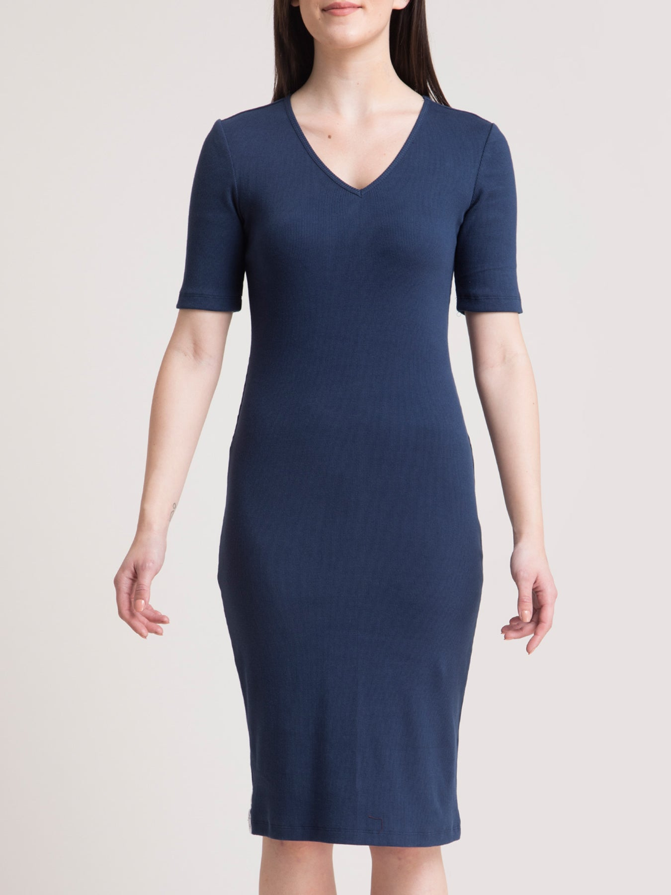 Stretchable V Neck LivIn Dress - Navy Blue