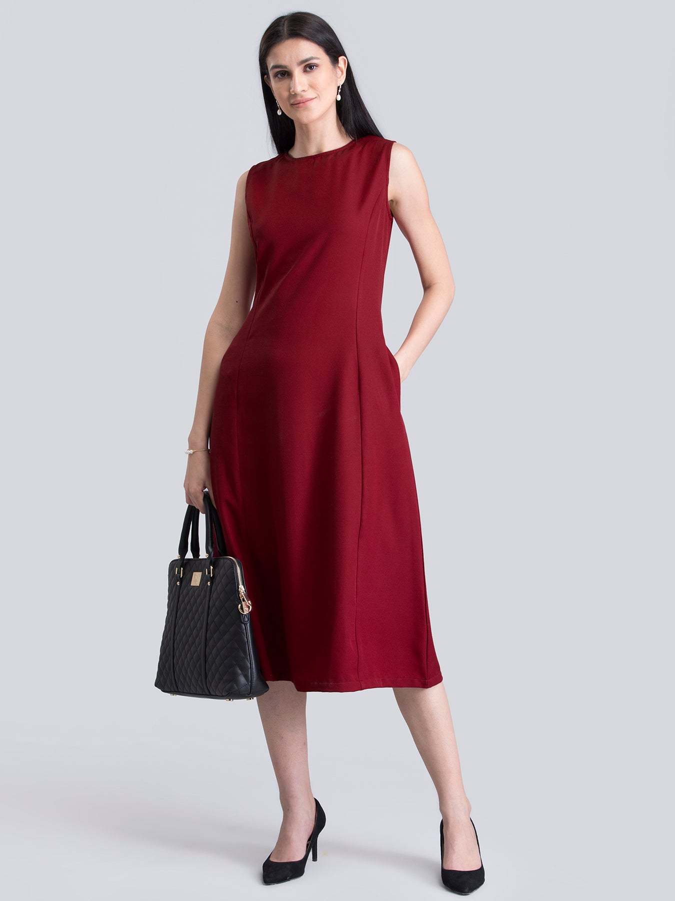 Stylised Neck A Line Dress - Red