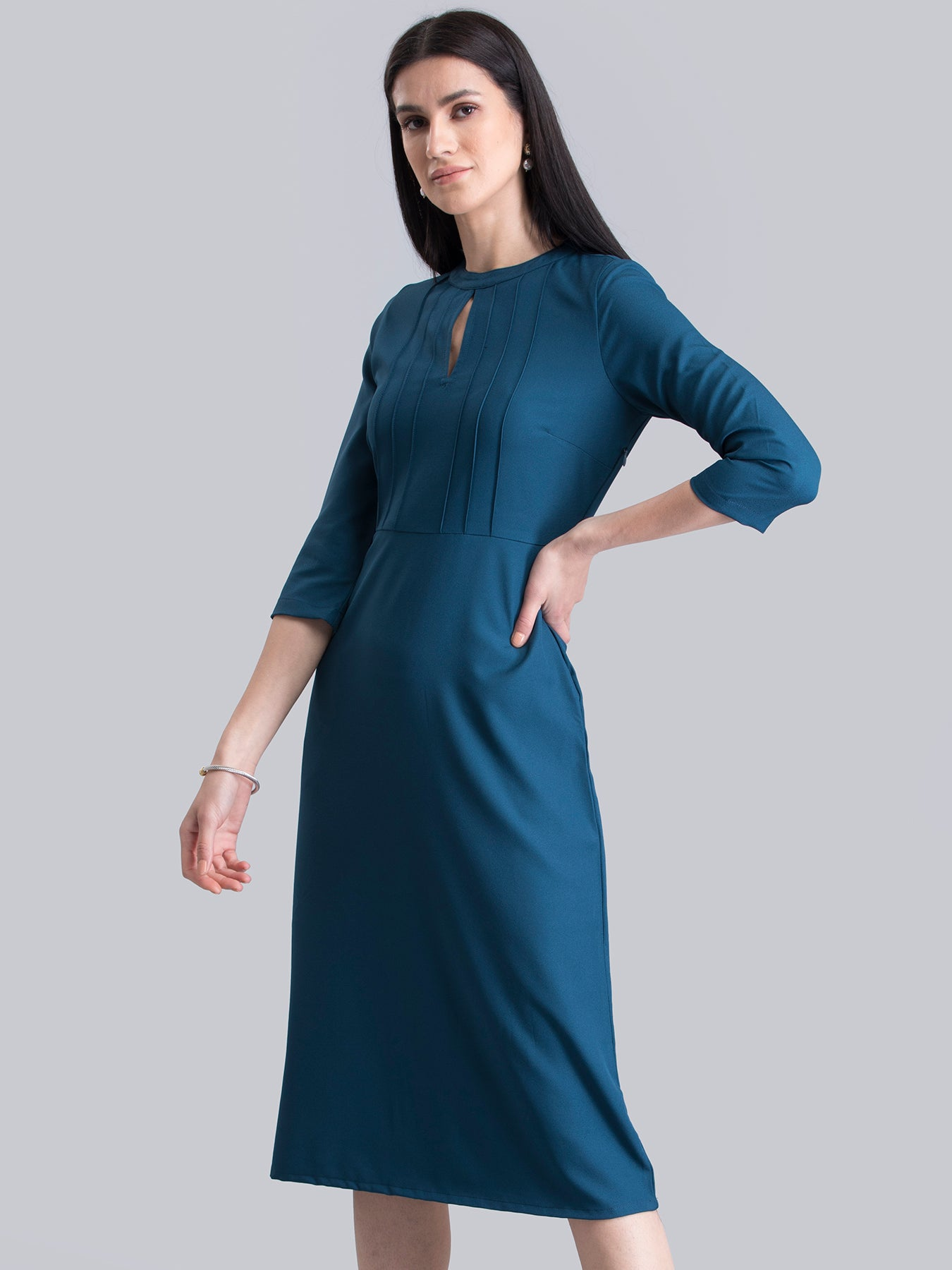 Stylised Neck Pintuck Dress - Teal