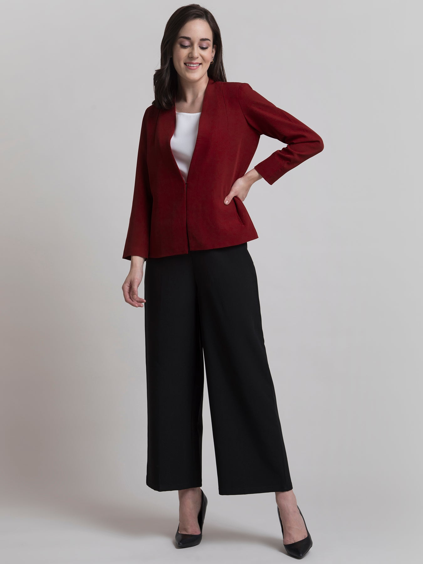 Stylish Jacket With Hook Closure - Dark Red