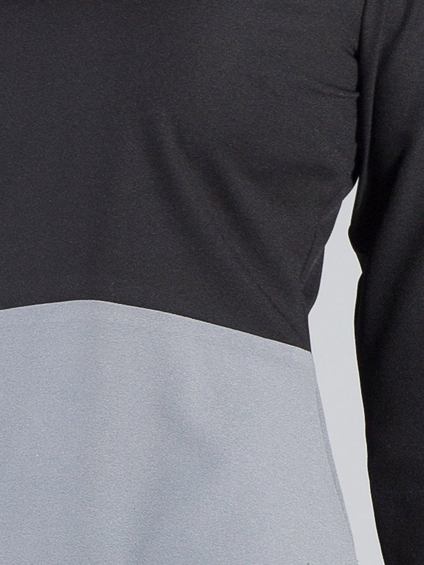 Boat Neck Quarter Sleeve Colour Block Top - Black & Grey