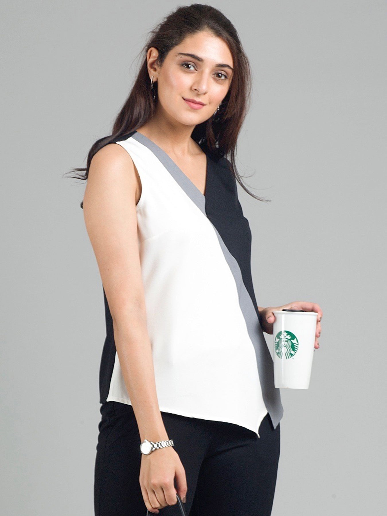 Asymmetric Hem Tri-Colour Colour Block Top - White, Black & Grey