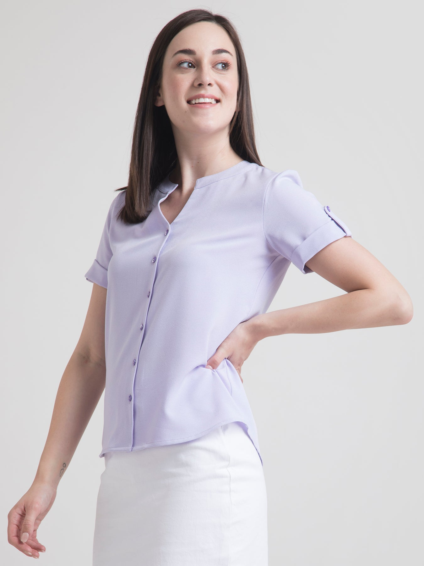V Neck Button Detail Top - Lavender