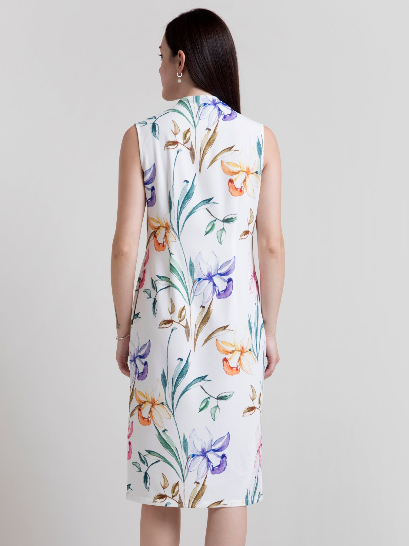 V Neck Floral Shift Dress - White and Yellow