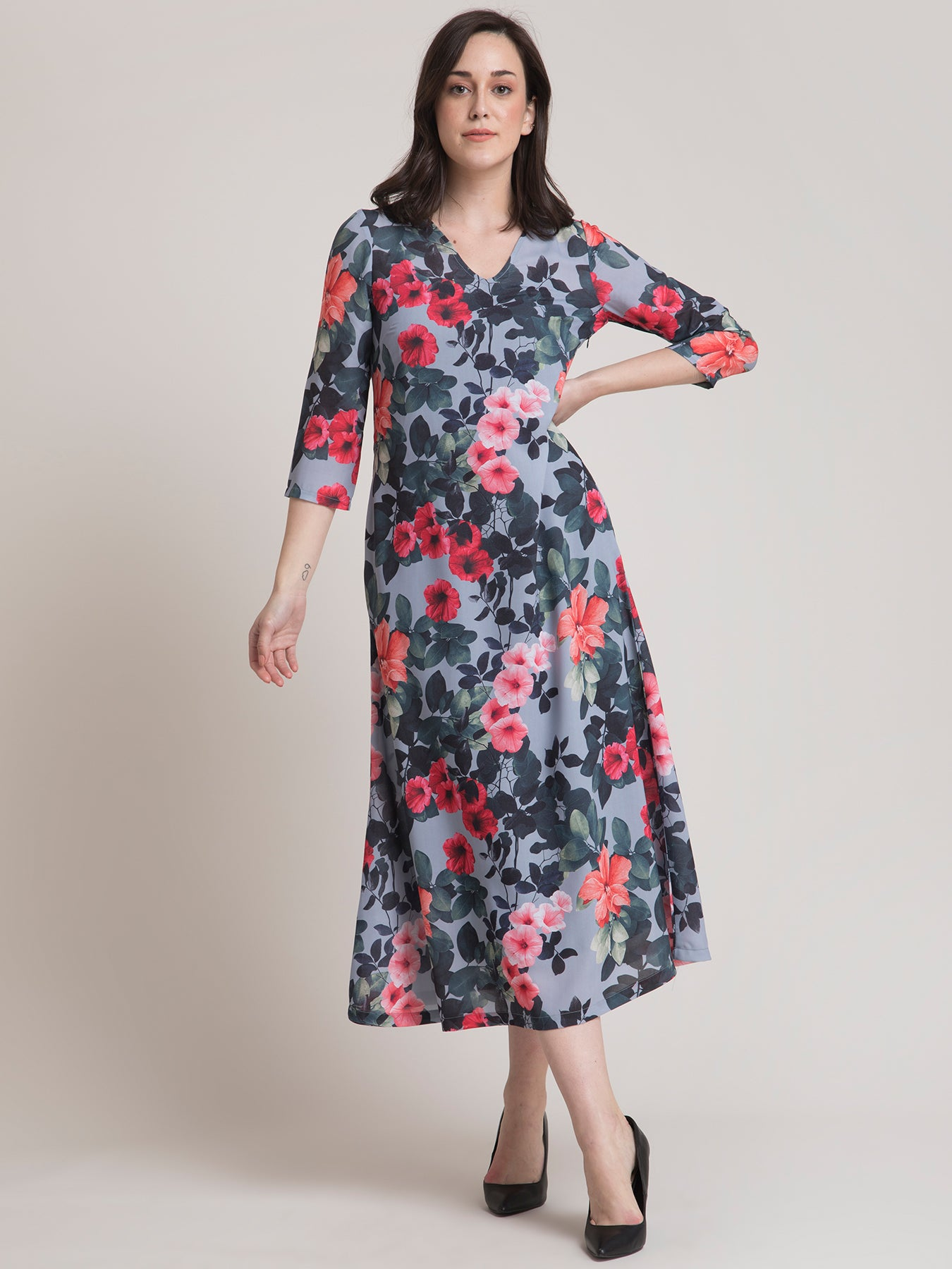V Neck Floral A Line Dress - Grey and Red