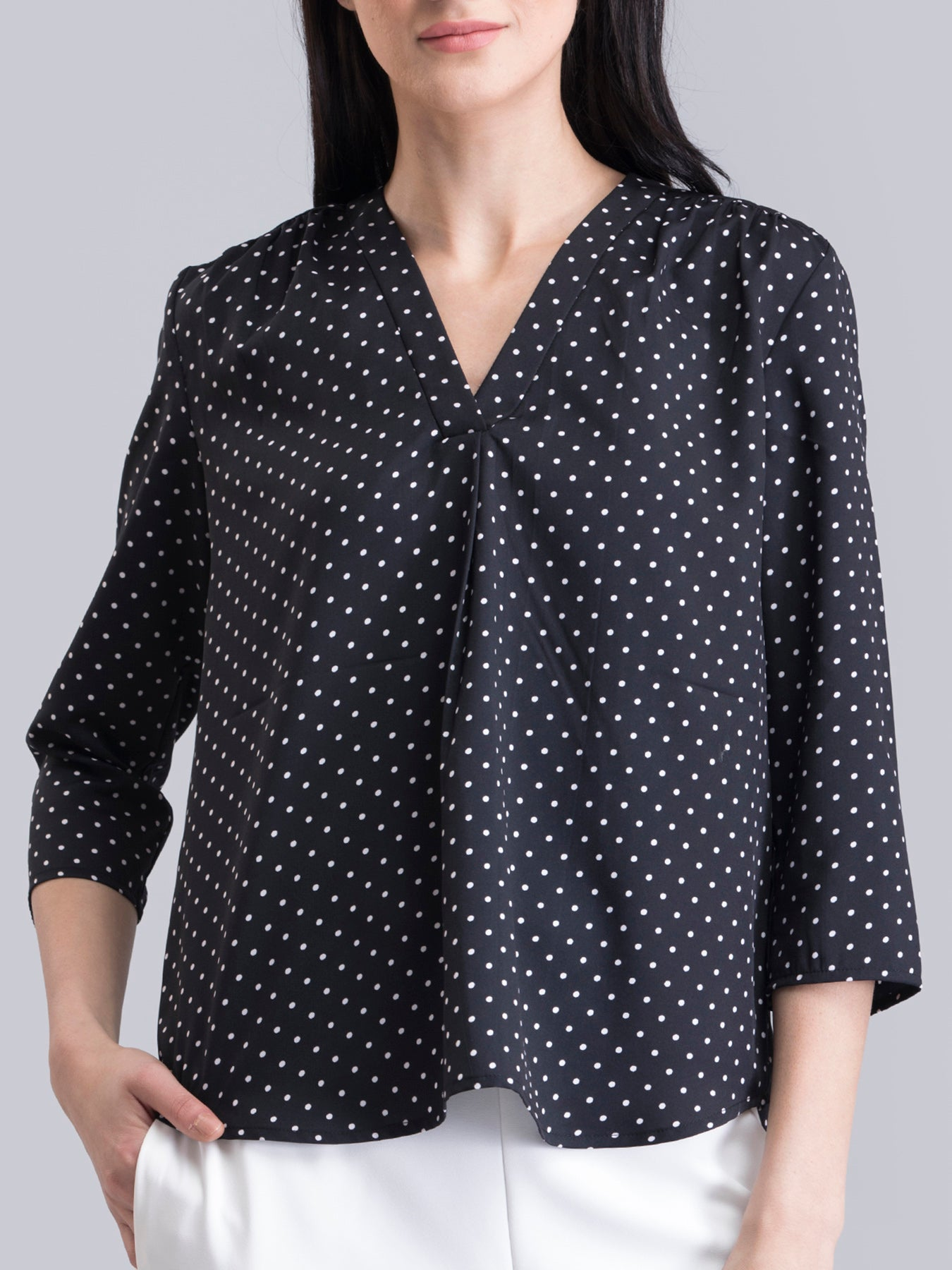 V Neck Polka Dot Top - Black and White
