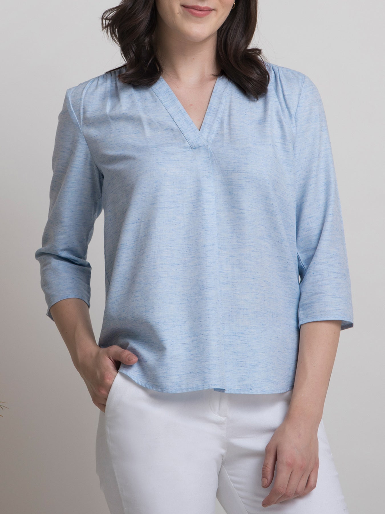 V Neck Textured Pleated Top - Blue