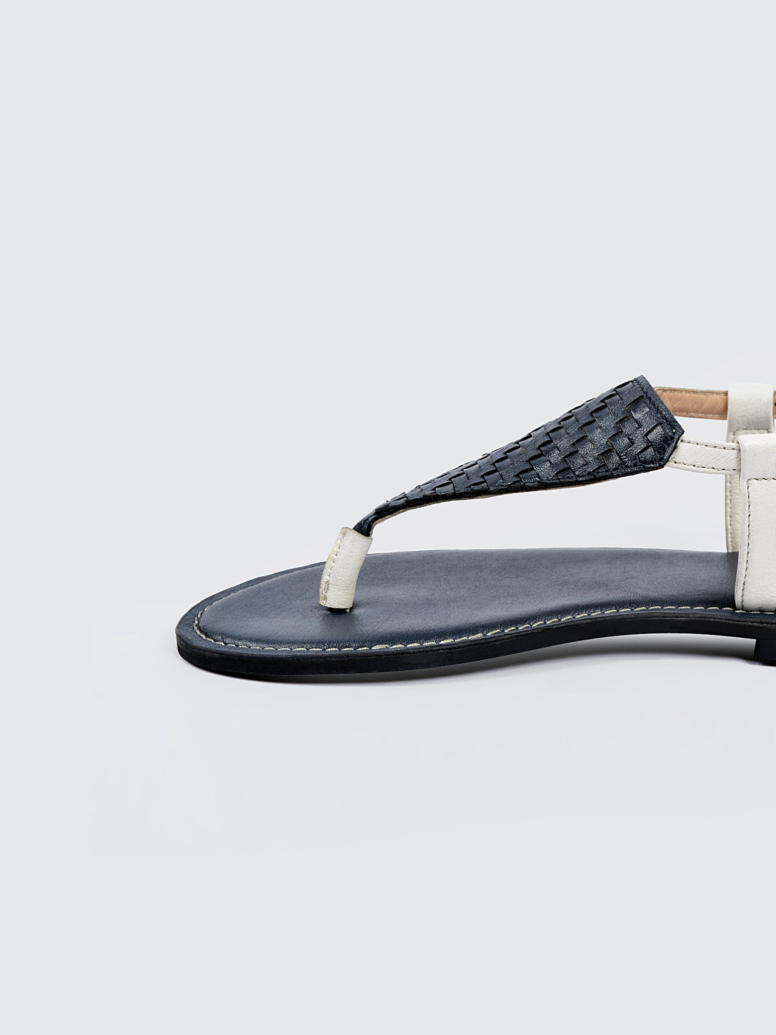 Basket Weave Leather Ankle Strap Sandals - Navy and White