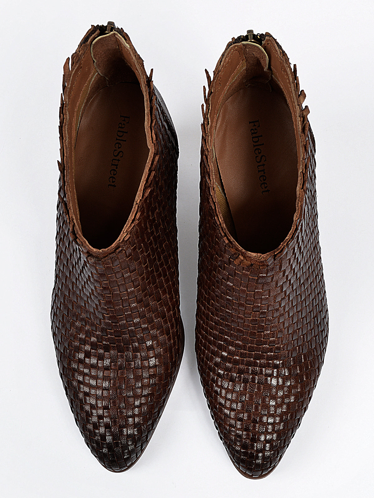 Basket Weave Leather Heeled Boots - Brown