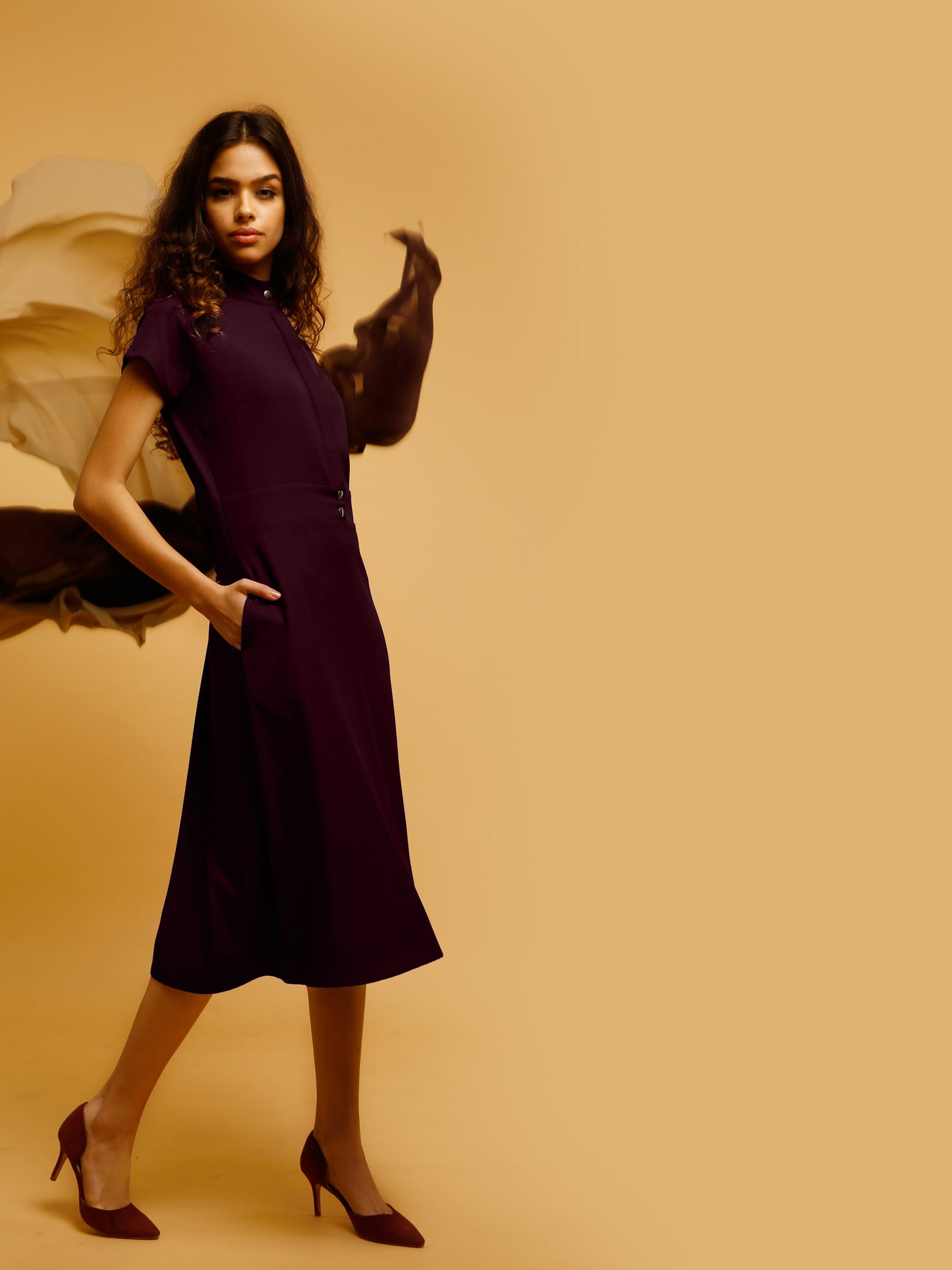 Below Knee A Line Dress With Button Detail - Maroon
