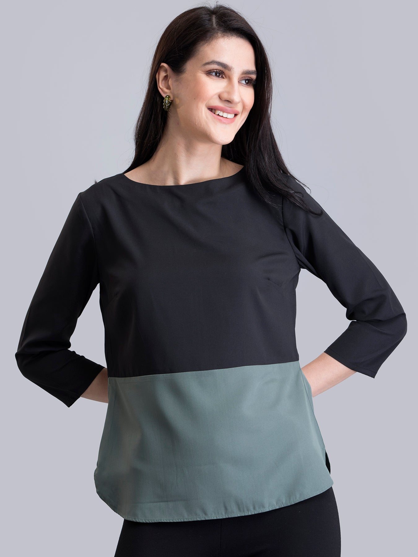 Boat Neck Colour Block Top - Black and Green