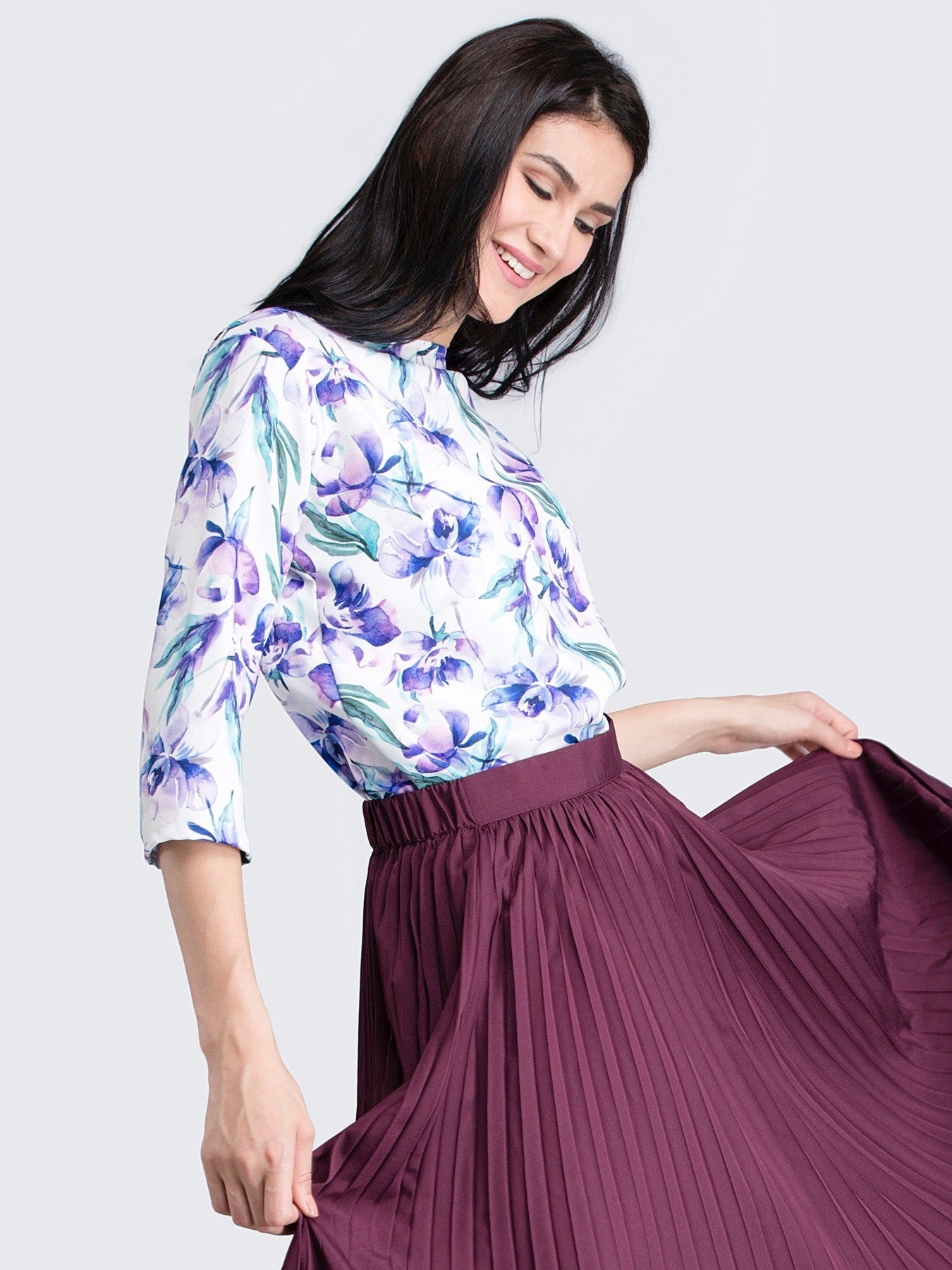 Boat Neck Floral Top - Purple